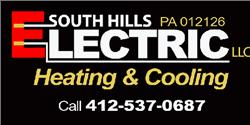 South Hills Electric Heating Cooling Black Logo