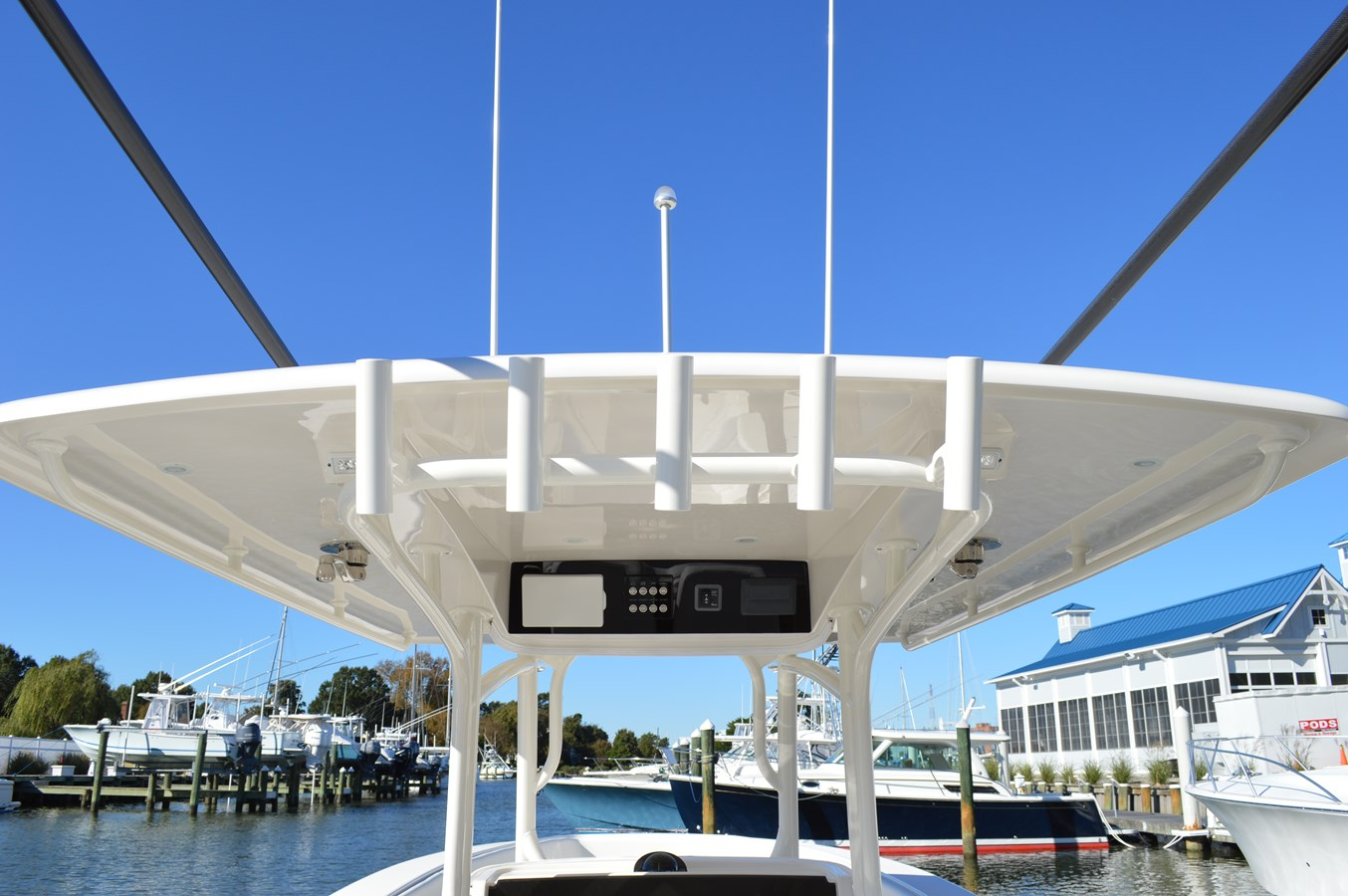 Rod Holders Mounted on the T-Top - 38 JUPITER For Sale