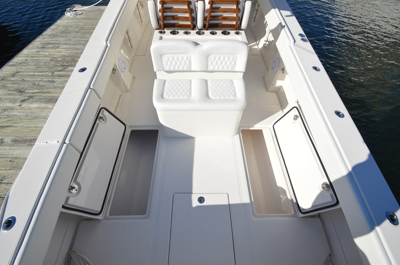 Cockpit with Twin Fishboxes and Bilge Access - 38 JUPITER For Sale