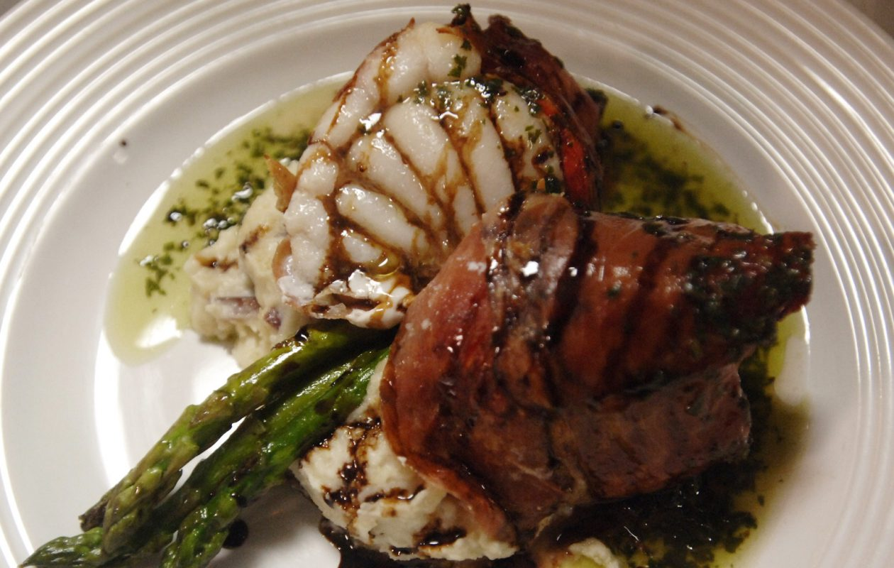Prosciutto and roasted pepper-wrapped monkfish from O'Connell's Hourglass in Kenmore. (Derek Gee/Buffalo News file photo)