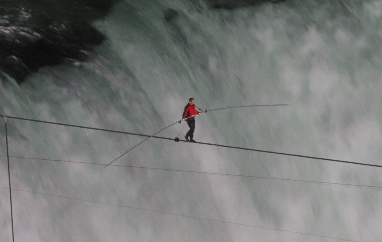 Daredevil Nik Wallenda walks over Niagara Falls on a high wire, as seen from the Skylon Tower, on Friday, June 15, 2012.  (Derek Gee/Buffalo News)