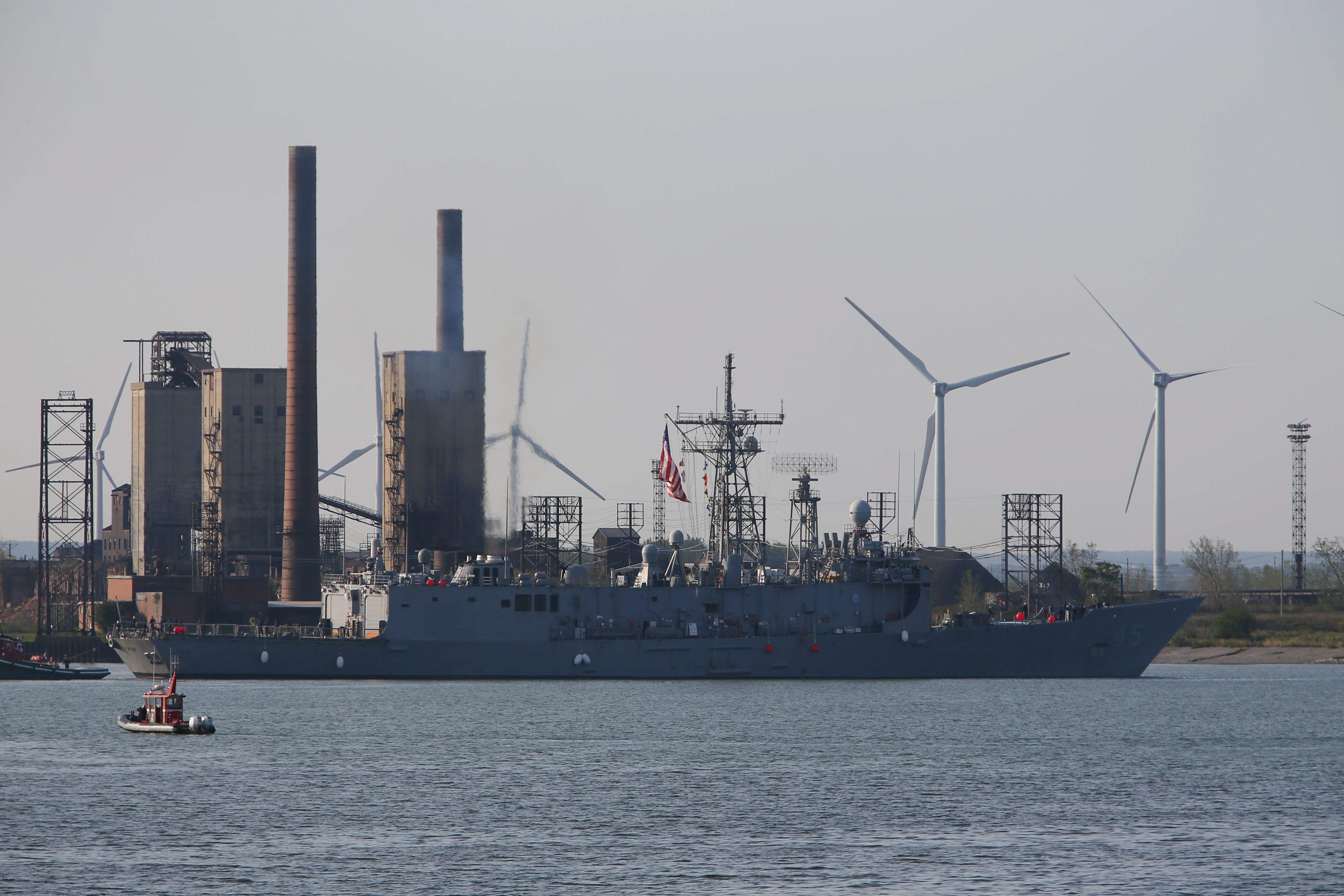 Derek Gee/Buffalo News    U.S. Navy warship USS De Wert leaves Buffalo on Monday after spending five days in the Queen City for Navy Week.  The De Wert is now heading back to its home port in Jacksonville, Fla.