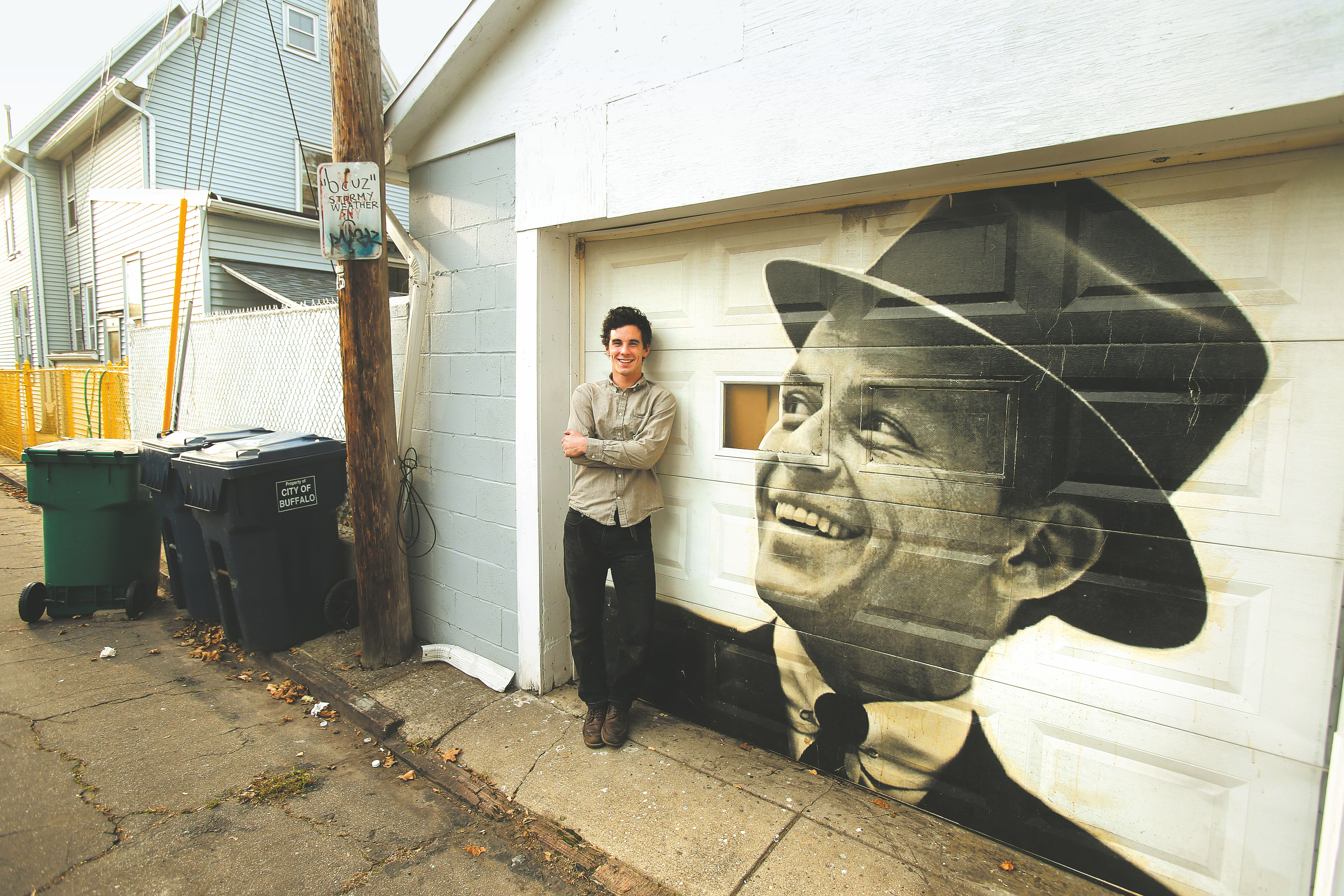 Max collins and putting frank sinatra on the garage door the some of max collins murals include frank sinatra on a garage on west tupper near rubansaba