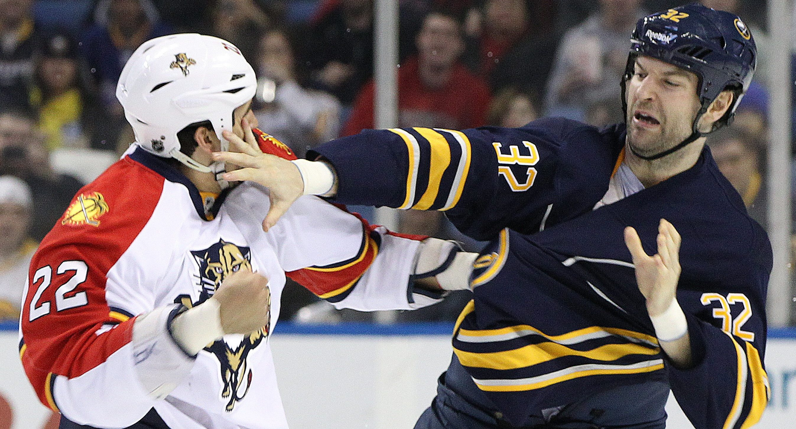 Sabres' John Scott fights Florida Panthers right wing George Parros in the second period.