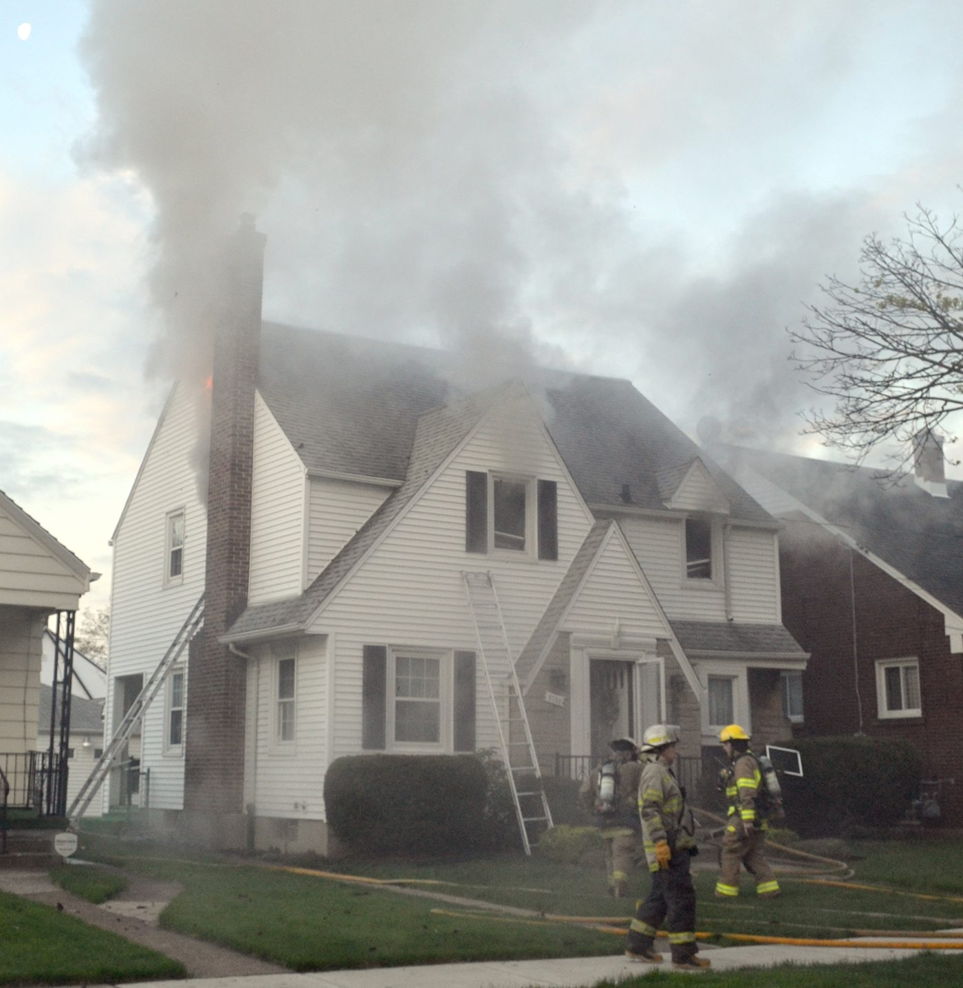 A 96-year-old woman died this morning in a house fire in her Woodlawn Avenue home, authorities reported. Maryanne Laratta was living alone in her home at 2753 Woodlawn Ave. She was found in her second-floor bedroom, in bed. (Larry Kensinger/contributor)