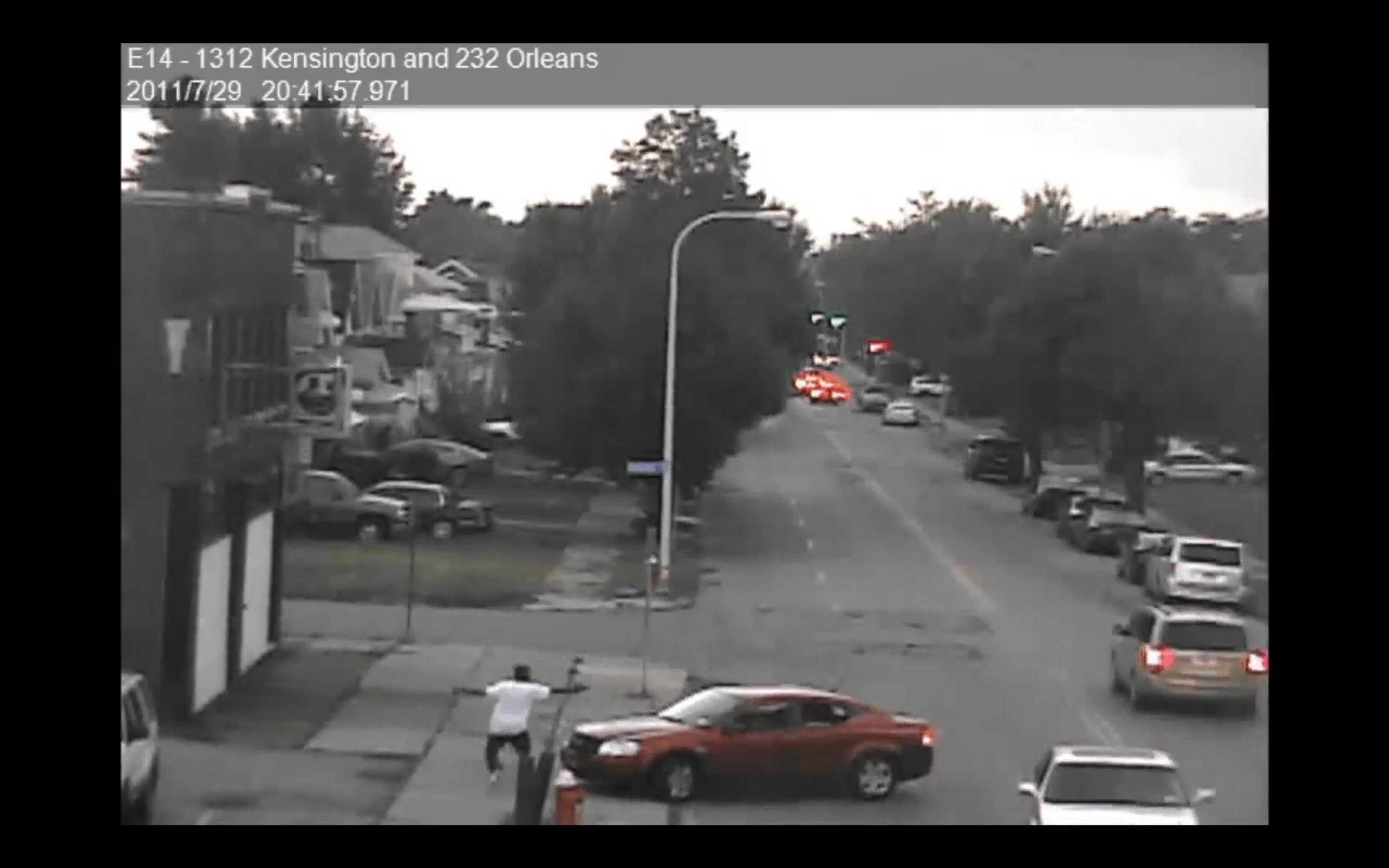 A still frame taken from Buffalo Police surveillance video   allegedly shows Bailey Boys gang member Tariq Brown shooting at rival LRGP gang member Anthony Skinner in a car on July 29, 2011. Brown also stands accused of murdering Marquay Lee during   a shooting in Martin Luther King Park last May. Hours after that   incident, Samantha Cothran was caught in the crossfire when police say an LRGP gang member retaliated for the park shooting.