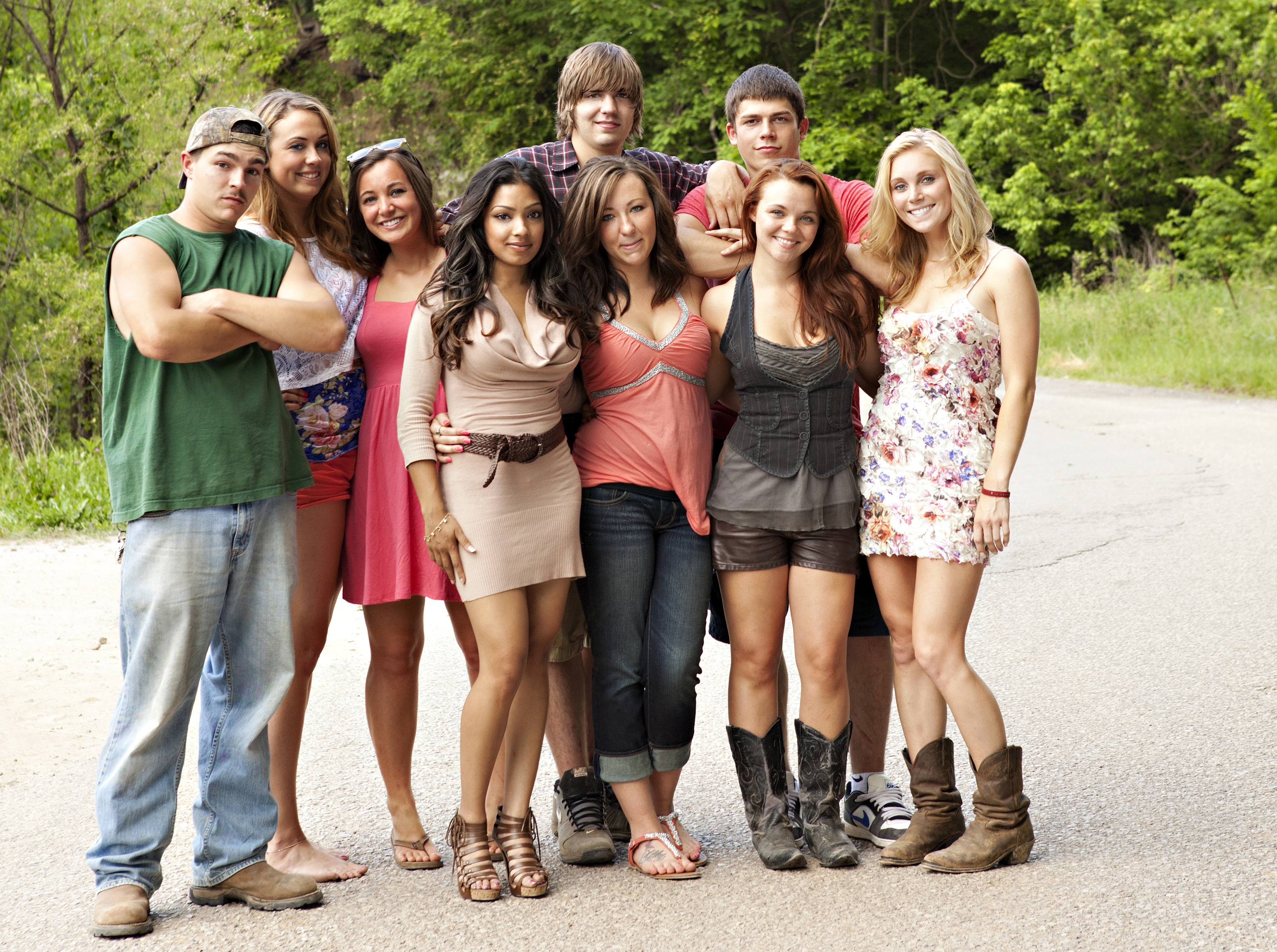 "Shain Gandee, far left, star of MTV's ""Buckwild,"" and the rest of the cast. MTV is canceling its West Virginia-based reality TV show a week after Gandee's death."