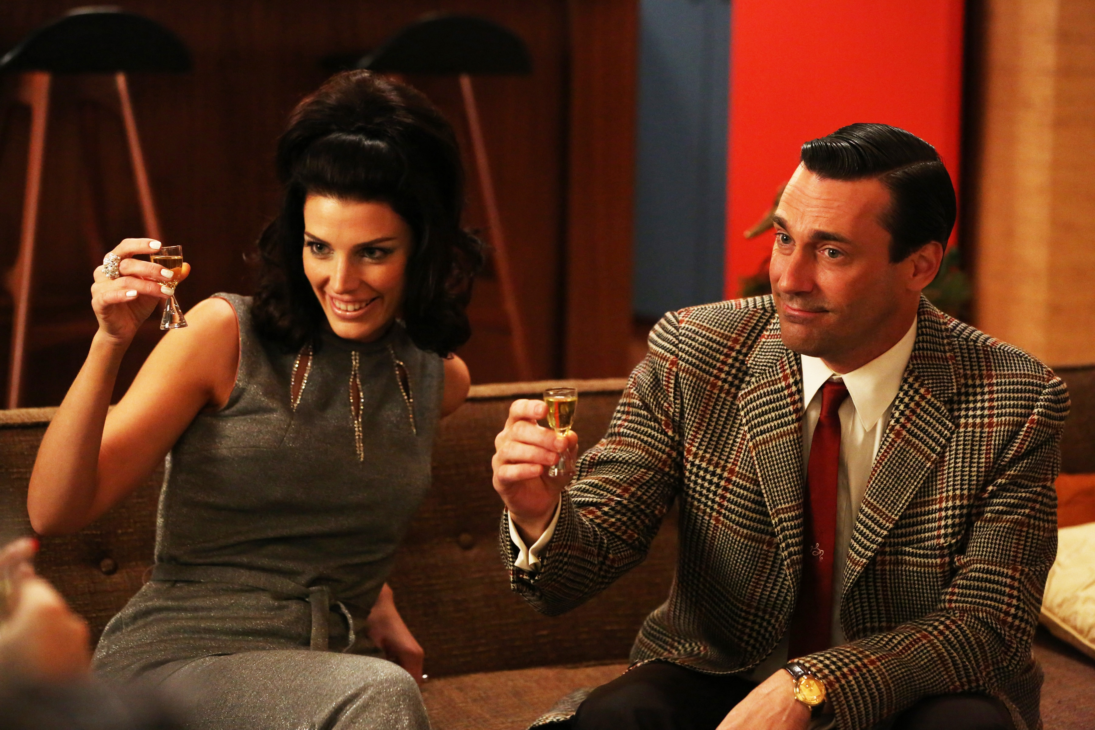 "Jessica Pare plays Megan Draper and Jon Hamm is her husband Don, in a scene from Season 6 of ""Mad Men,"" which debuts Sunday on AMC."