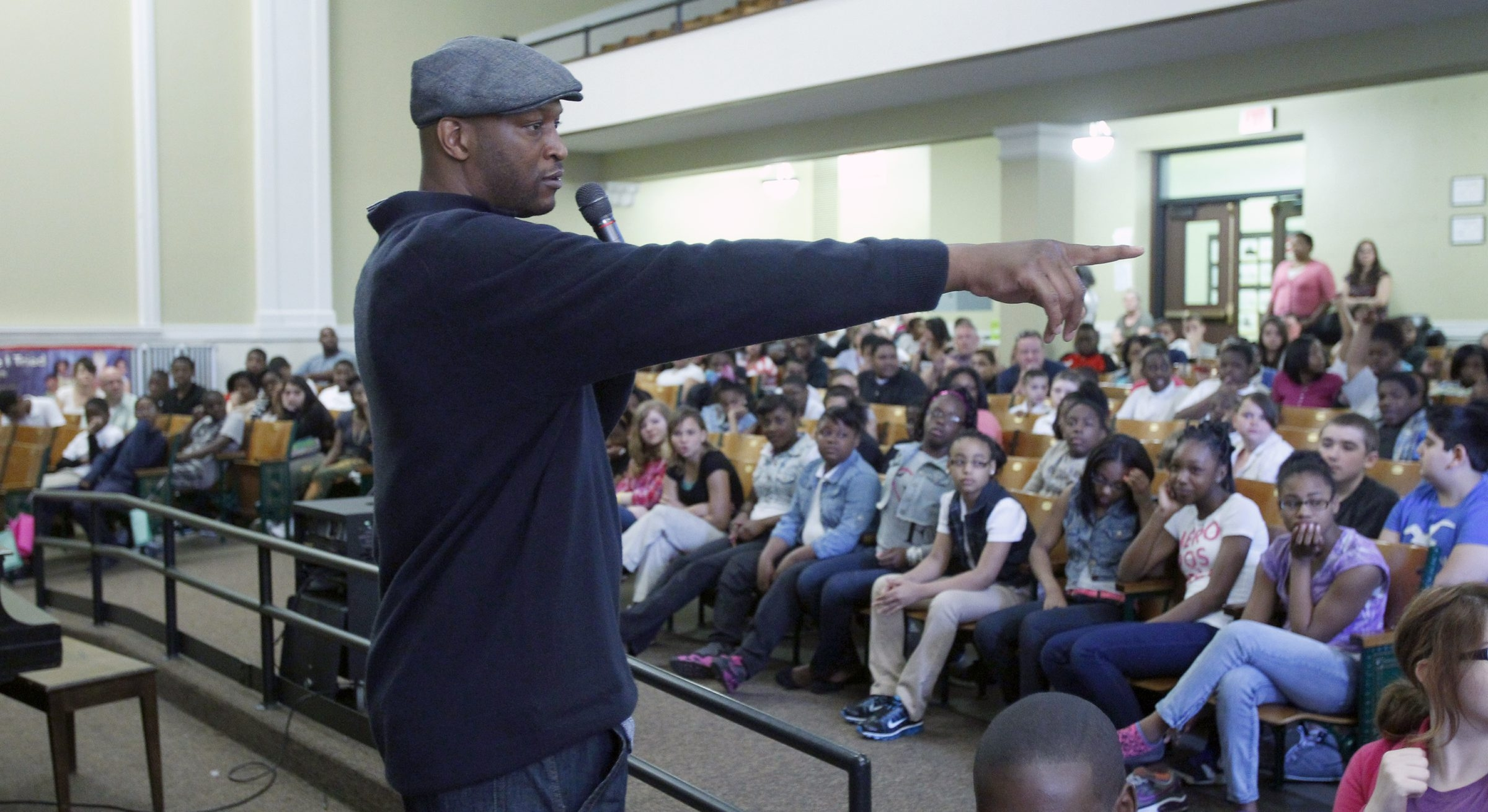 John Wallace speaks to students at North Park Academy.