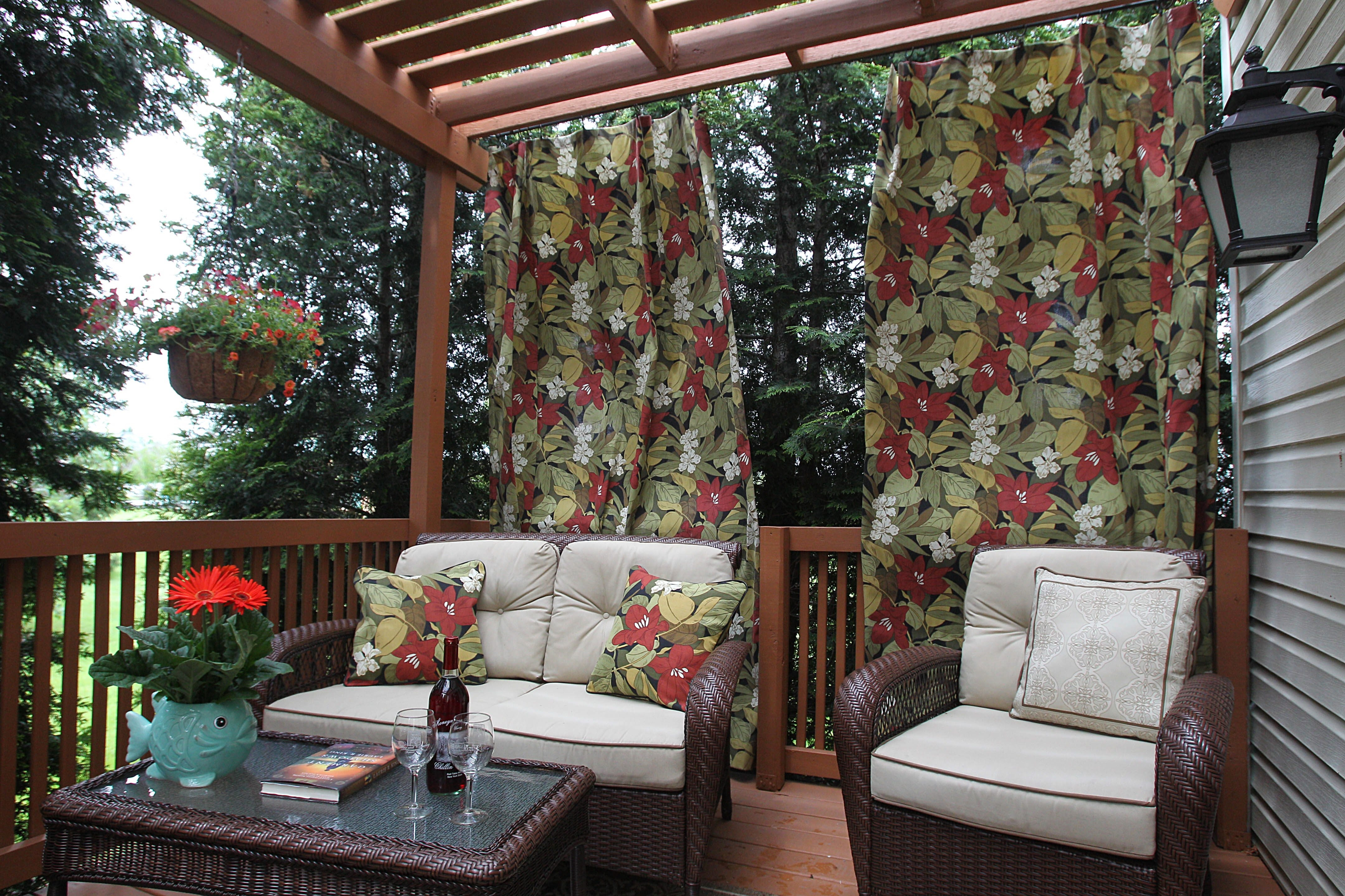 Susan Perry made deck curtains out of outdoor fabric.