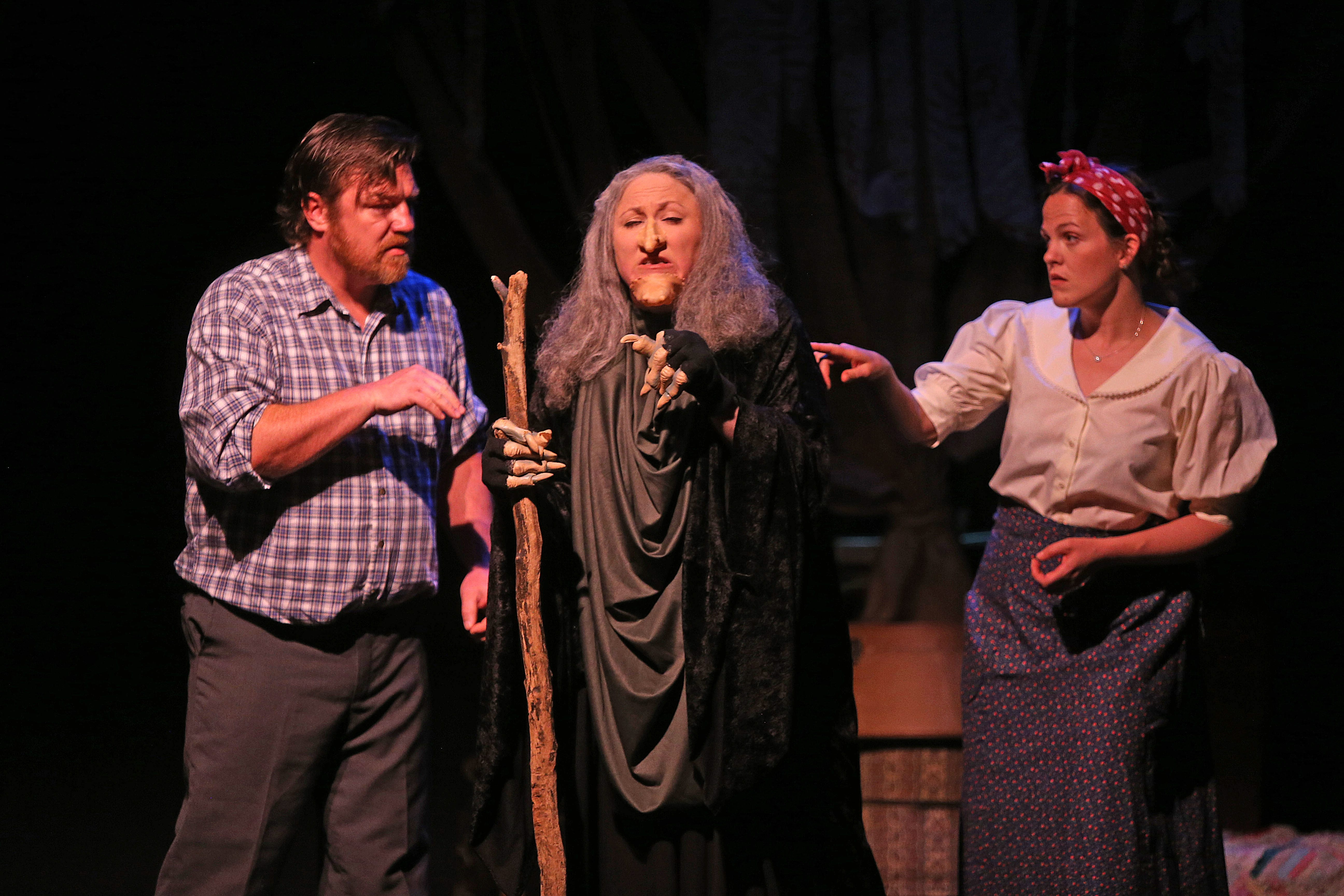 """The exceptional cast of """"Into the Woods"""" includes Bobby Cooke as the Baker, Loraine O'Donnell as the Witch and Jenn Stafford as the Baker's Wife."""
