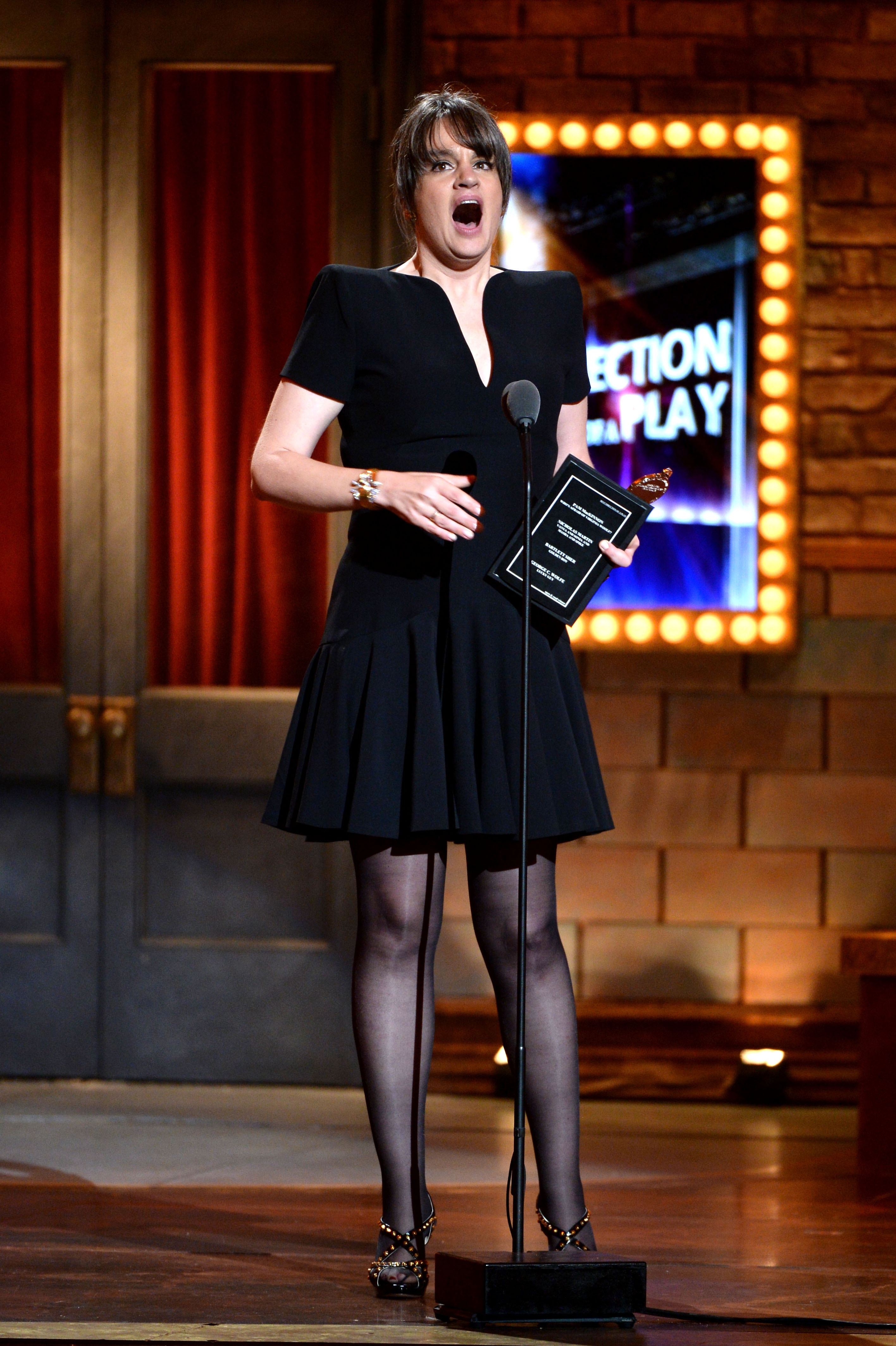 "NEW YORK, NY – JUNE 09: Pam MacKinnon accepts the award for Best Direction for ""onstage at Who's Afraid of Virginia Woolf?"" The 67th Annual Tony Awards at Radio City Music Hall on June 9, 2013 in New York City.  (Photo by Andrew H. Walker/Getty Images for Tony Awards Productions)"