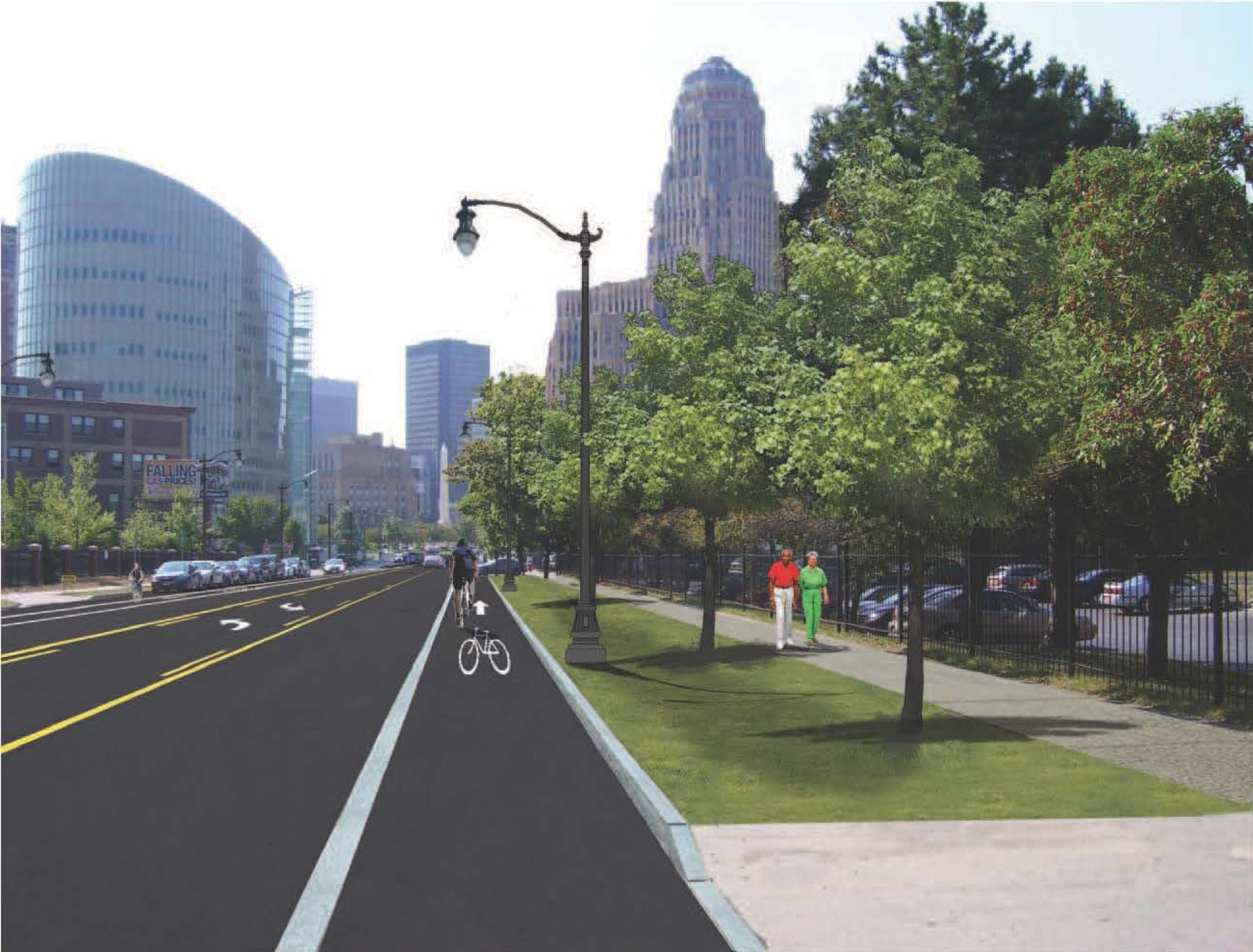 New sidewalks, repaved streets and bike lanes are proposed at West Huron Street facing northbound.
