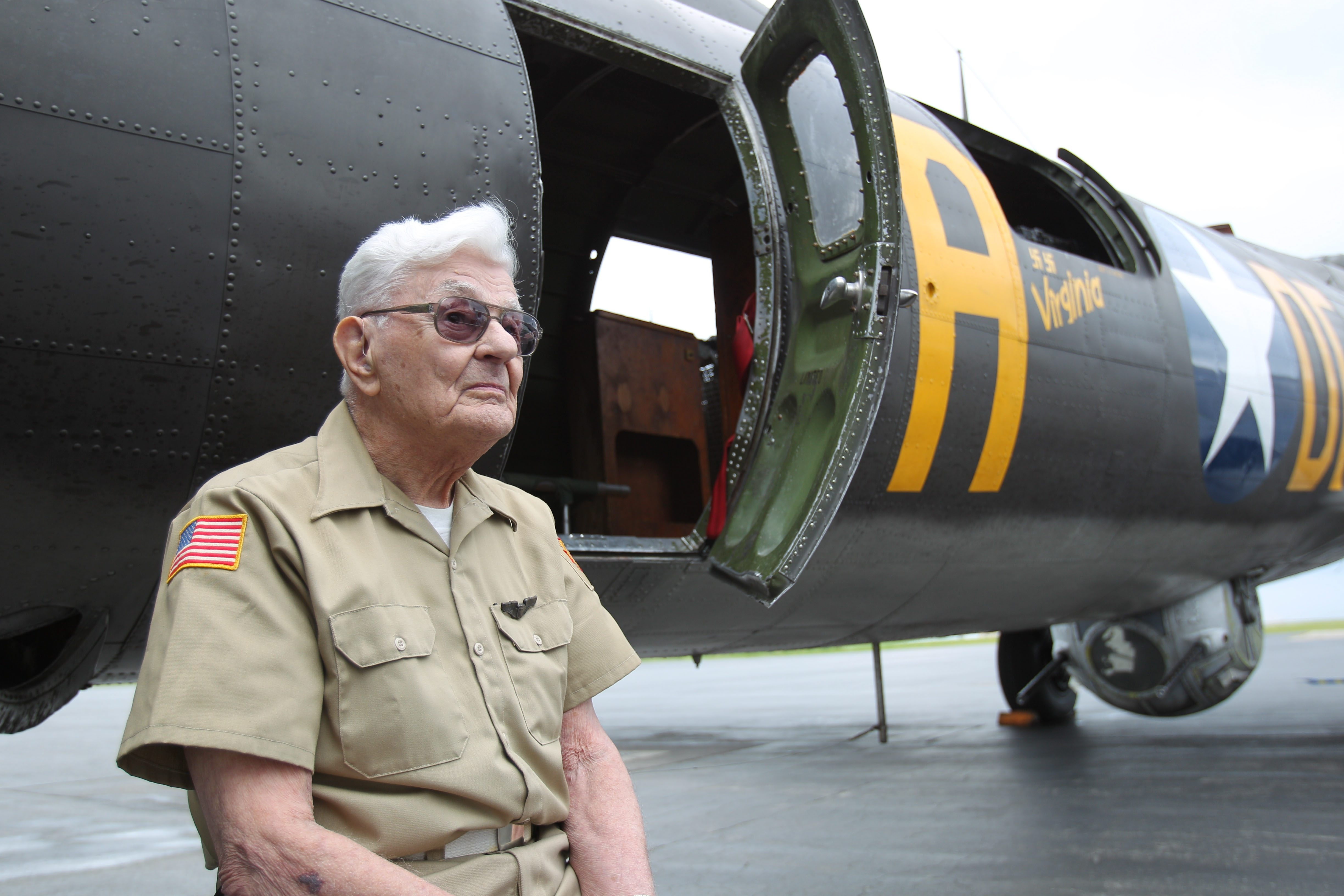 World War II veteran Richard J. Notebaert, who served as a captain in the Army Air Forces, reflects on his dozens of daring missions over Europe as he takes his turn for a first-ever ride as a peacetime passenger aboard a B-17, the Liberty Foundation's Memphis Belle. Rides on the plane are being offered at Prior Aviation as part of a Salute to Veterans tour. See a photo gallery at BuffaloNews.com.