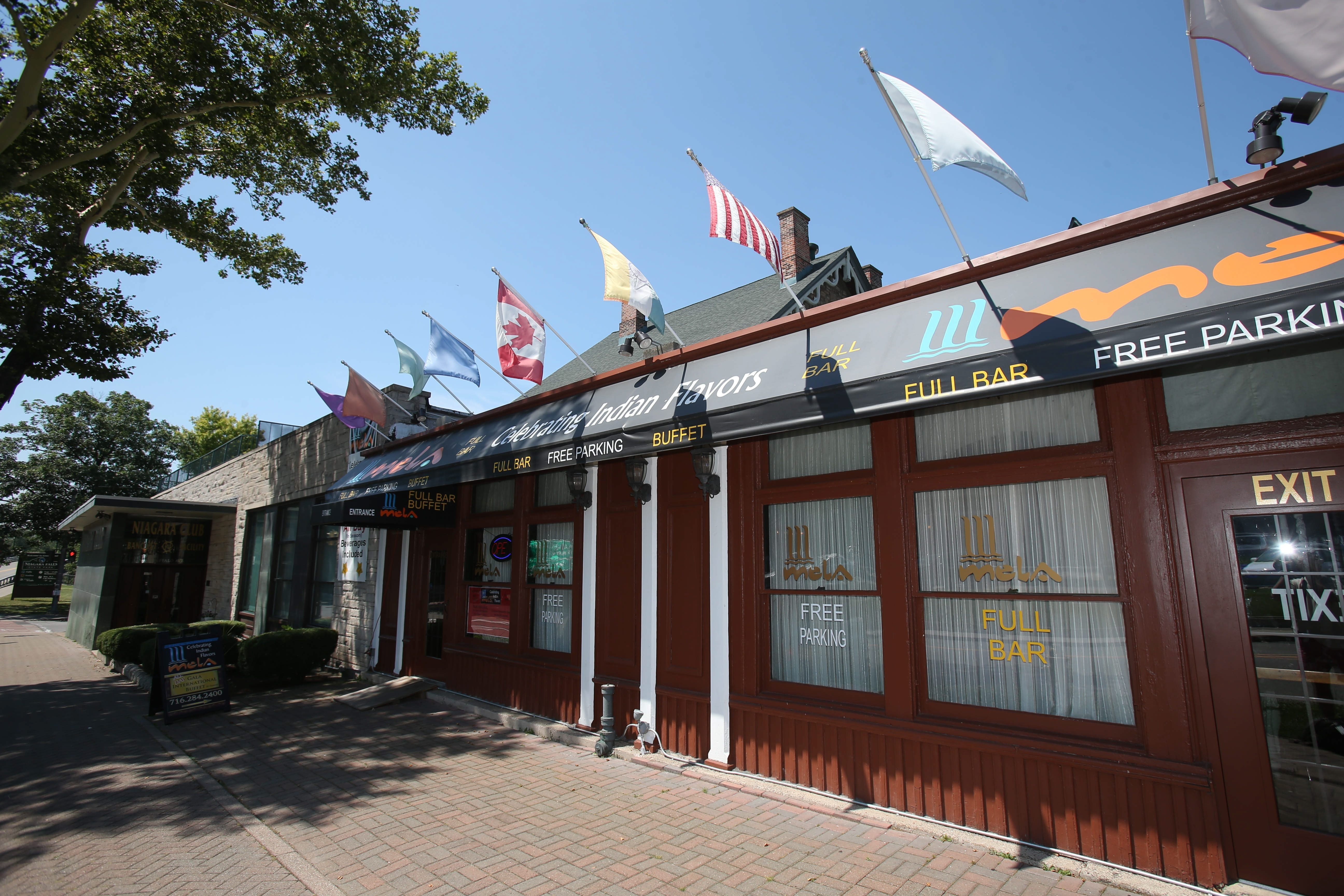 An exterior view of Mela Indian Restaurant, which is located in a corner of the old Niagara Club at the foot of Goat Island.