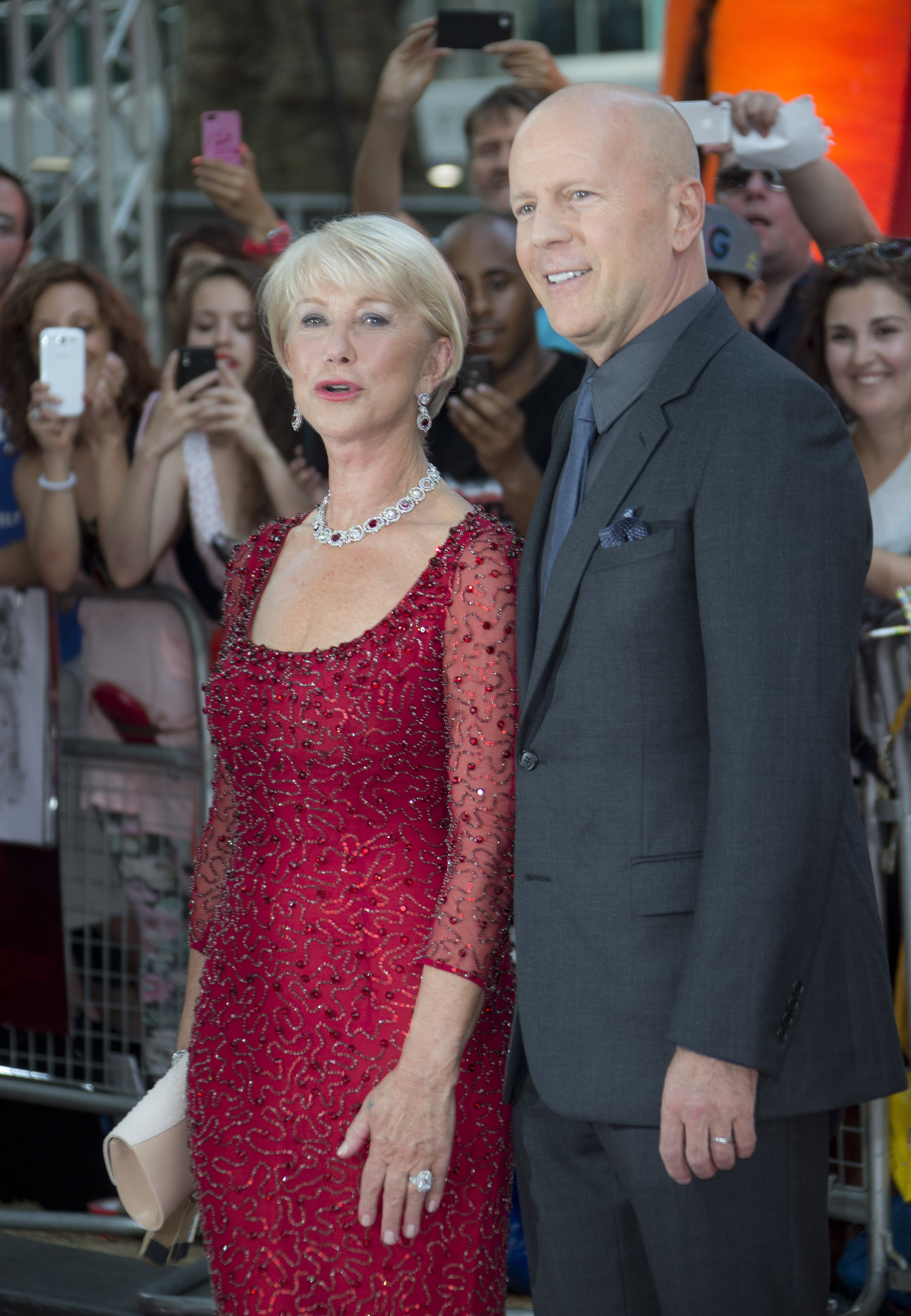 """""""Red"""" stars on the red carpet: Bruce Willis and Dame Helen Mirren were in London Monday, walking the red carpet for the European premiere of """"Red 2,"""" at a central London cinema."""