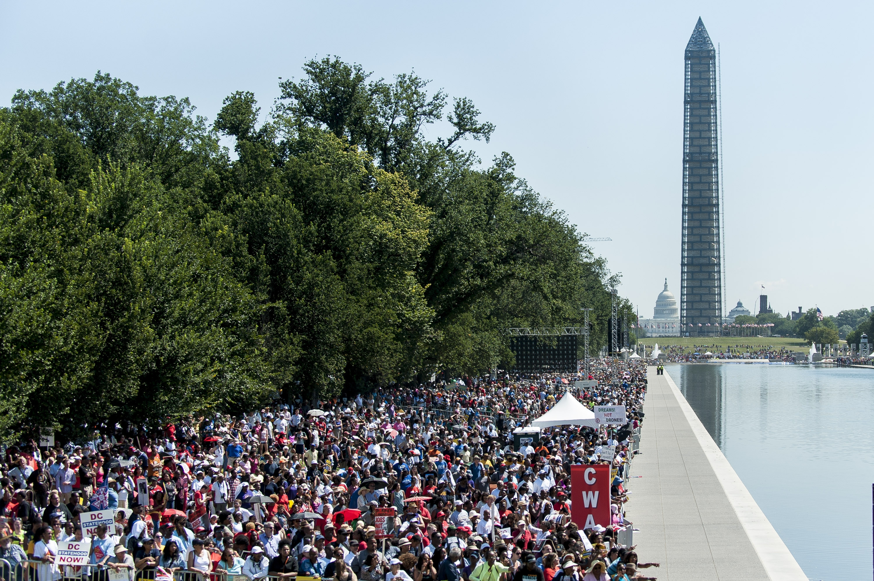 "People in Washington celebrate the 50th anniversary of the March on Washington and the Rev. Martin Luther King Jr.'s ""I Have a Dream"" speech."