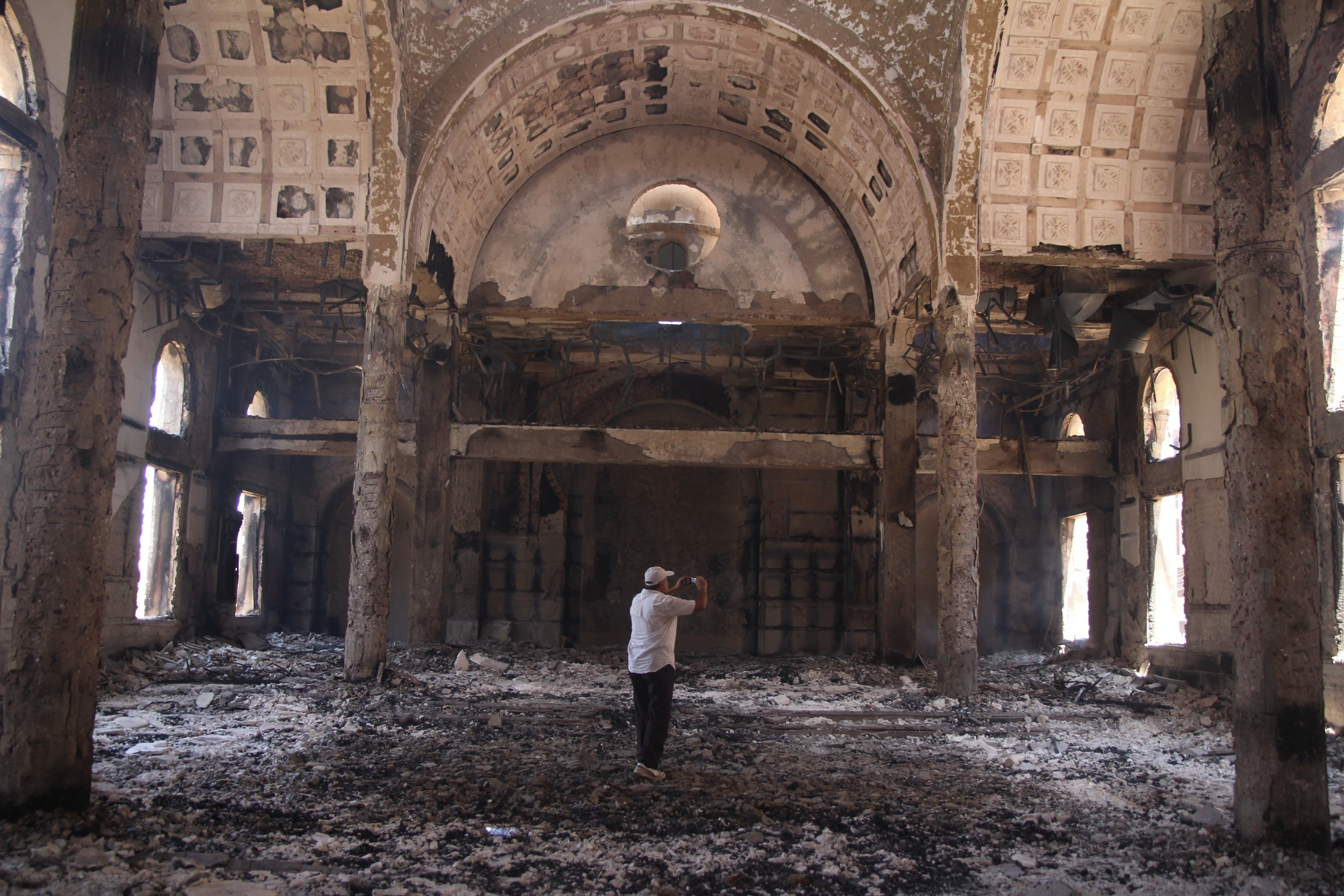 Damaged interior of St. Moussa Church in Minya bears witness to wave of destruction that has followed military regime's dispersal of two camps loyal to Egypt's ousted president.