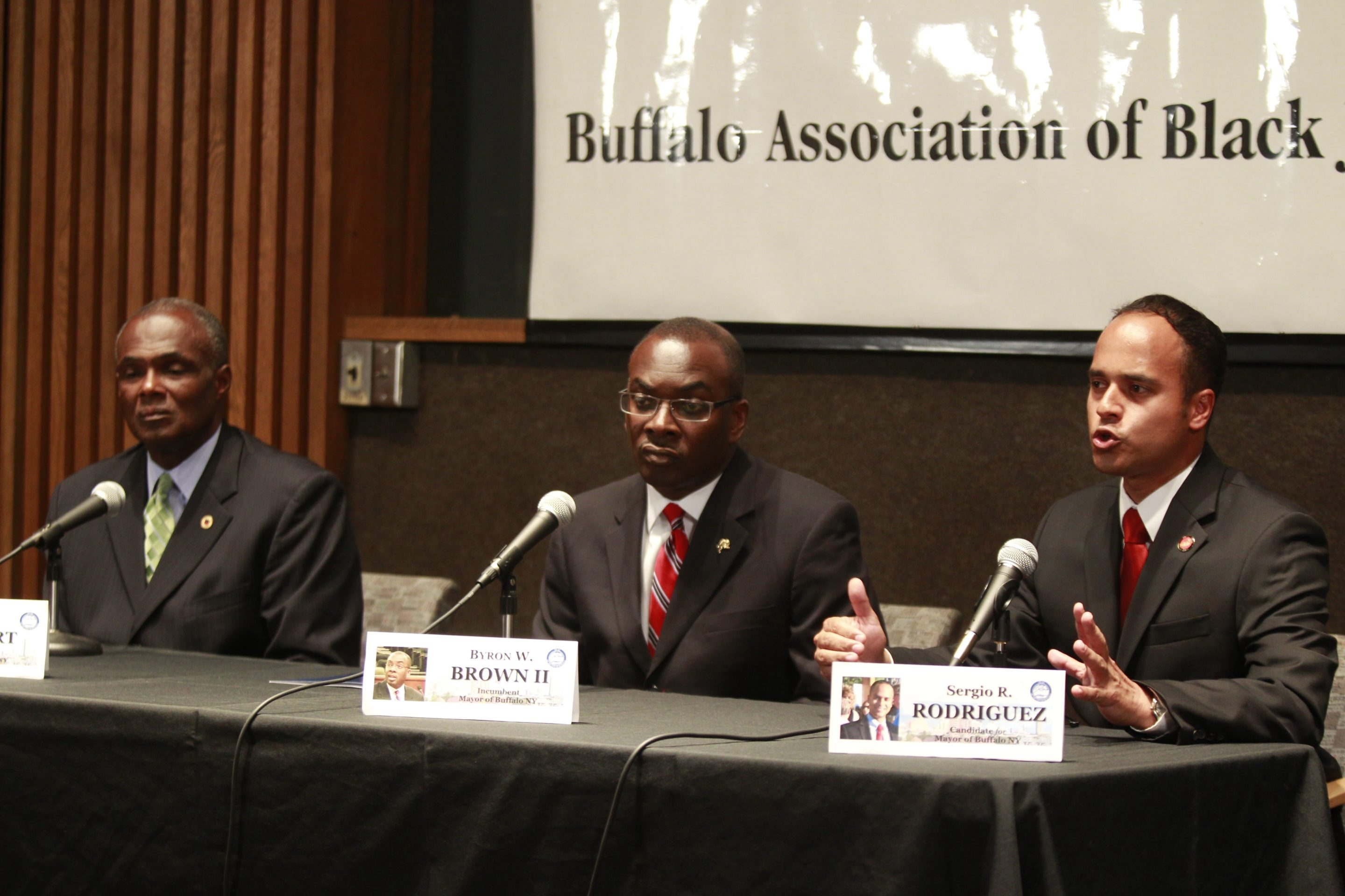Less than a week after the first mayoral debate among candidates Byron Brown, center, Bernard Tolbert, left, and Sergio Rodriguez, a Buffalo News/WGRZ/Siena poll shows the incumbent holding a comfortable lead over Tolbert, his challenger for the Democratic line.