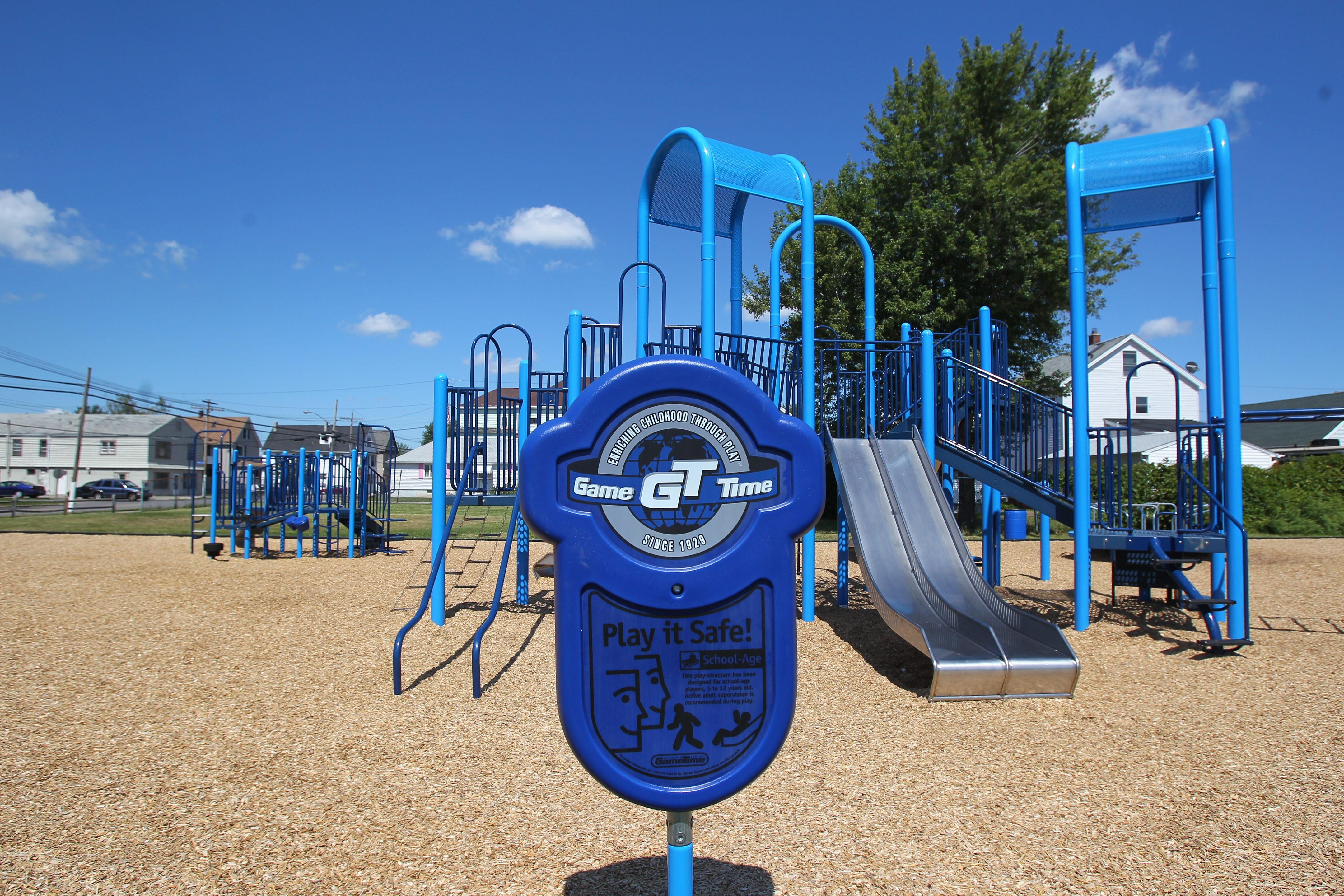 The playground at the corner of Electric and Cleveland avenues in Lackawanna features new equipment in vibrant shades of blue from Game Time. A new merry-go-round at the playground is proving to be very popular with the city's children.