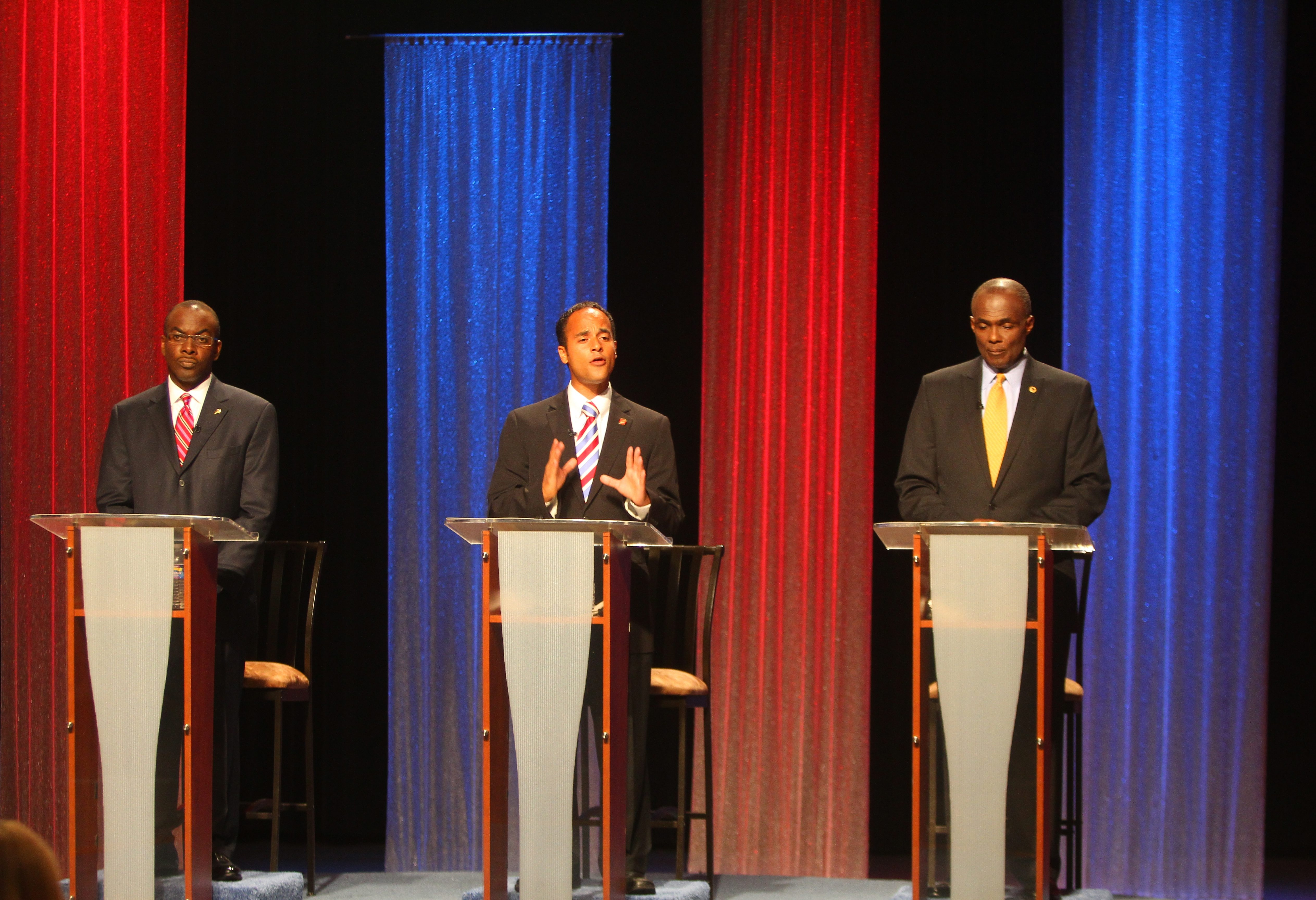 From left, Mayor Byron W. Brown, Sergio R. Rodriguez and Bernard A. Tolbert debate. See a photo gallery at BuffaloNews.com.