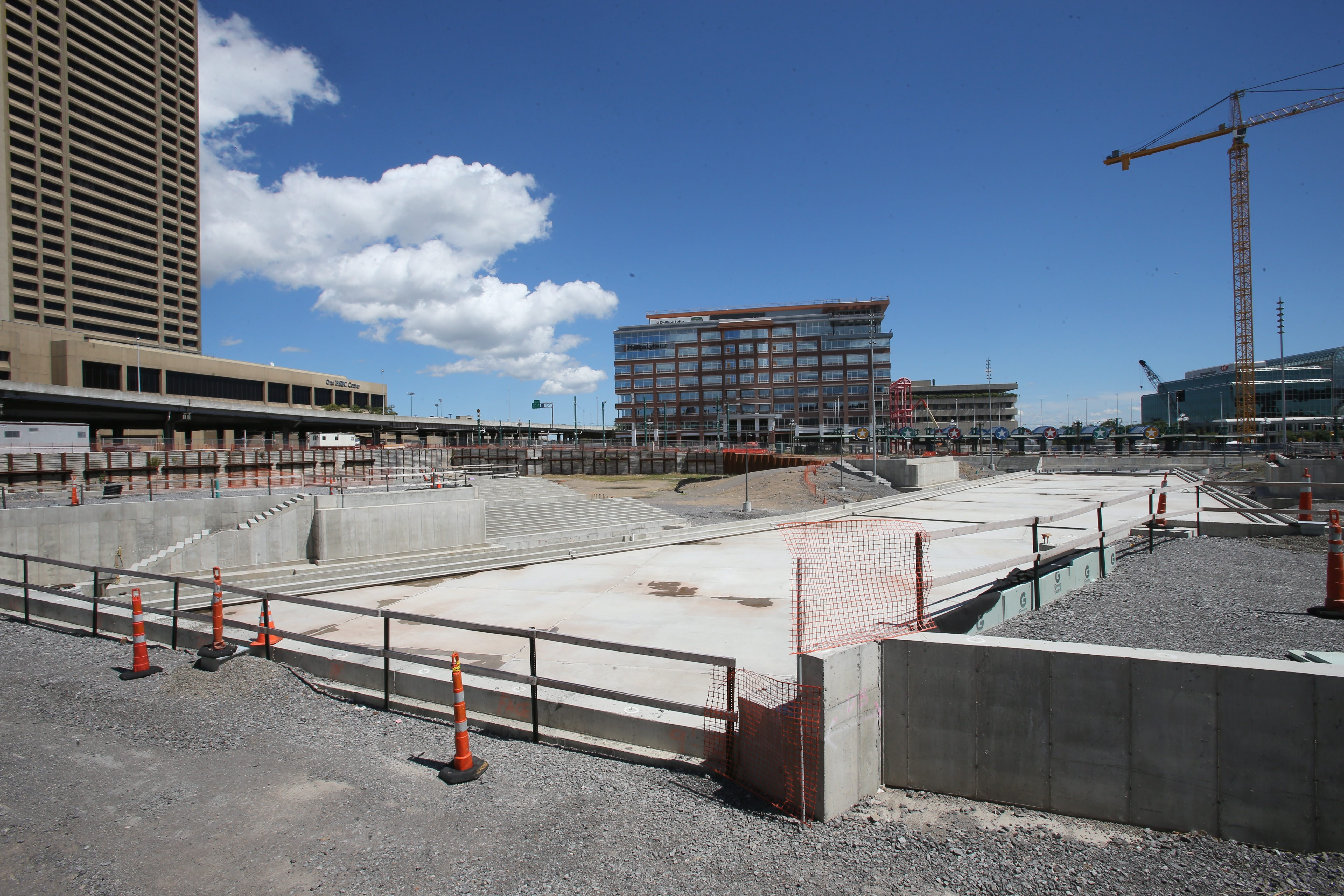 The throwback canals near Buffalo's waterfront will serve as reflecting pools in the warmer weather and ice skating rinks in winter.