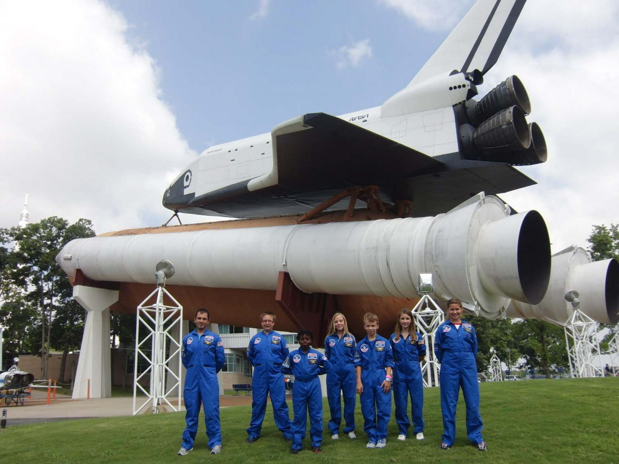 Depew Middle School technology teacher Aaron Nolan and students, from left, Max Mages, Nick Sugg, Megan Slocum, Aaron Schaefer, Breonna Smith and Shannon O'Rawe recently attended U.S. Space Camp in Huntsville, Ala.