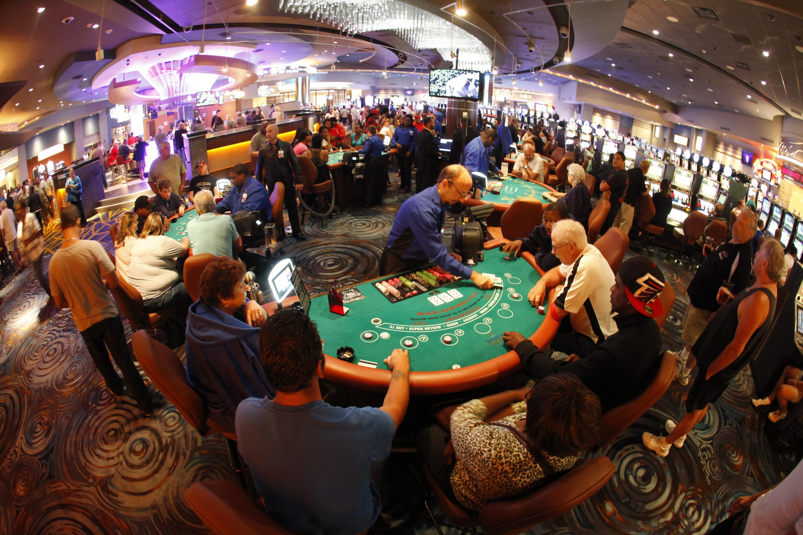 The new Seneca Buffalo Creek Casino was packed Tuesday night at the site's grand opening, including around the blackjack tables. Although it is smaller than the original plan, those attending the event didn't seem to have any complaints.