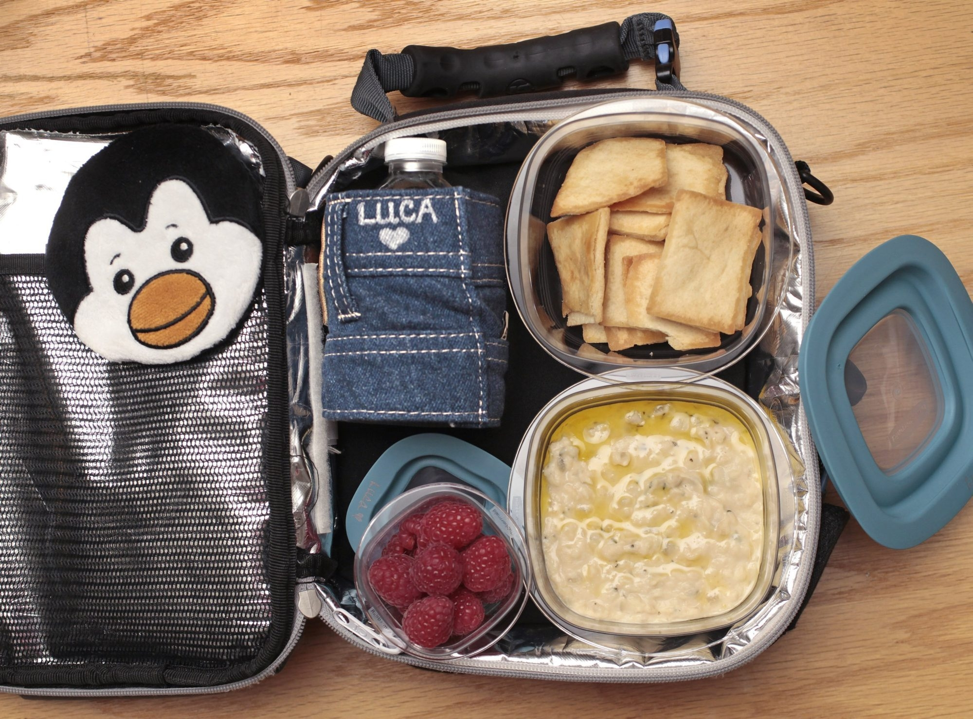 Varying lunch items can keep things fun for kids, such as this cannellini bean dip with pita chips.
