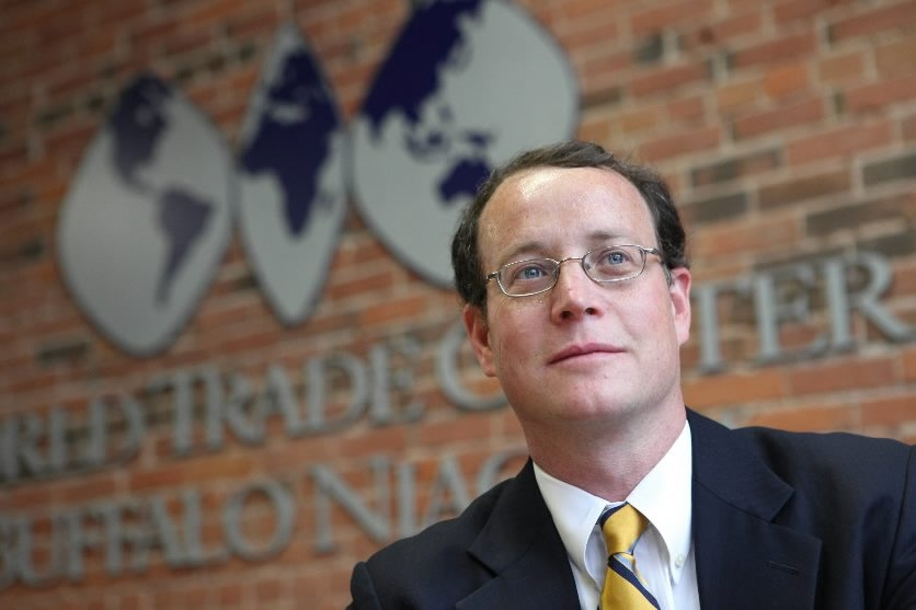 Christopher Johnston, president of World Trade Center Buffalo Niagara, works to connect local businesses with foreign markets.