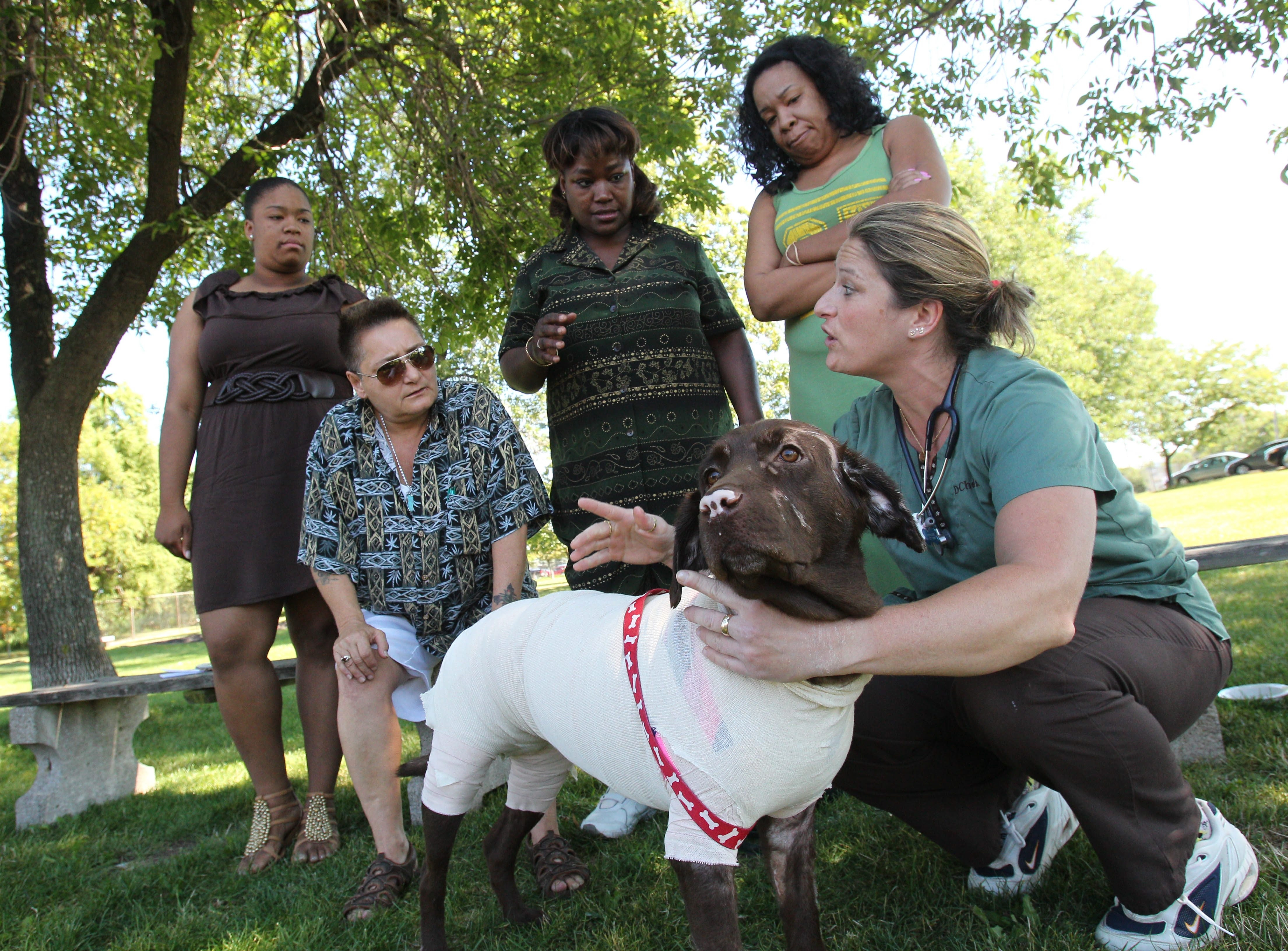 Dr. Helene Chevalier, who cared for Rocsi after a house fire left the dog badly burned, gives care instructions to, from left, Paris Reeves, Kim Sieber, Tonya Jackson and Afia Lott.