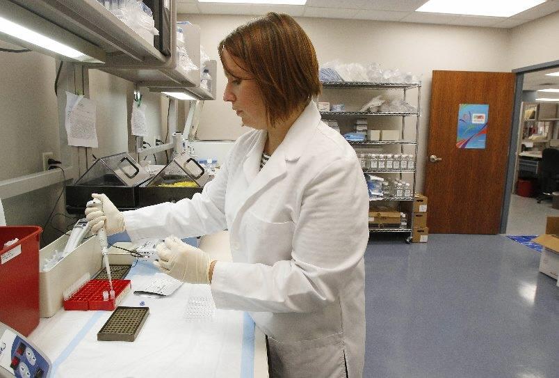 IMMCO Diagnostics supervisor Carey Killion prepares a DNA analysis at the lab in Buffalo.
