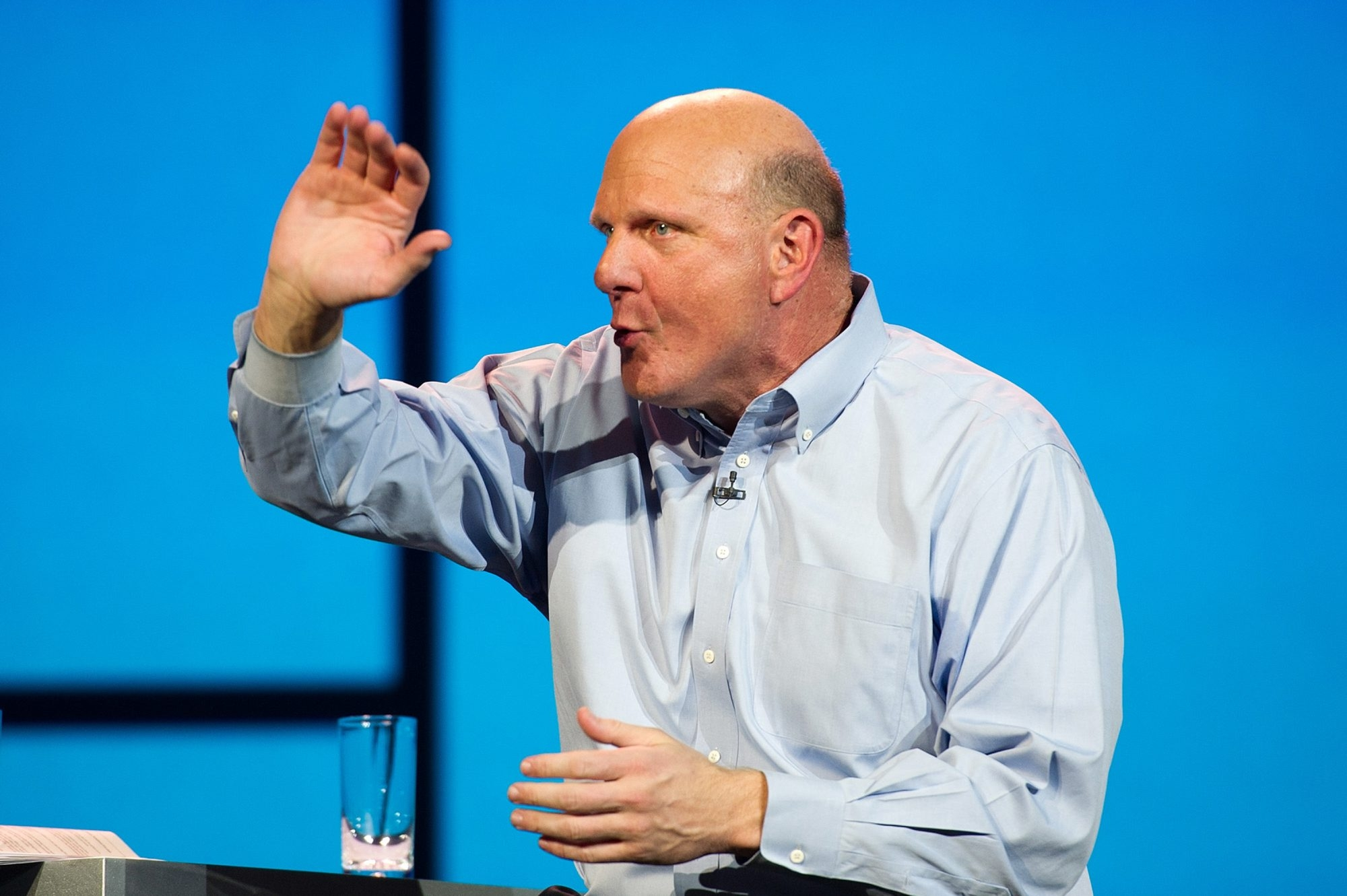 Steve Ballmer, chief executive officer of Microsoft Corp., announced today he was stepping down. {David Paul Morris/Bloomberg}
