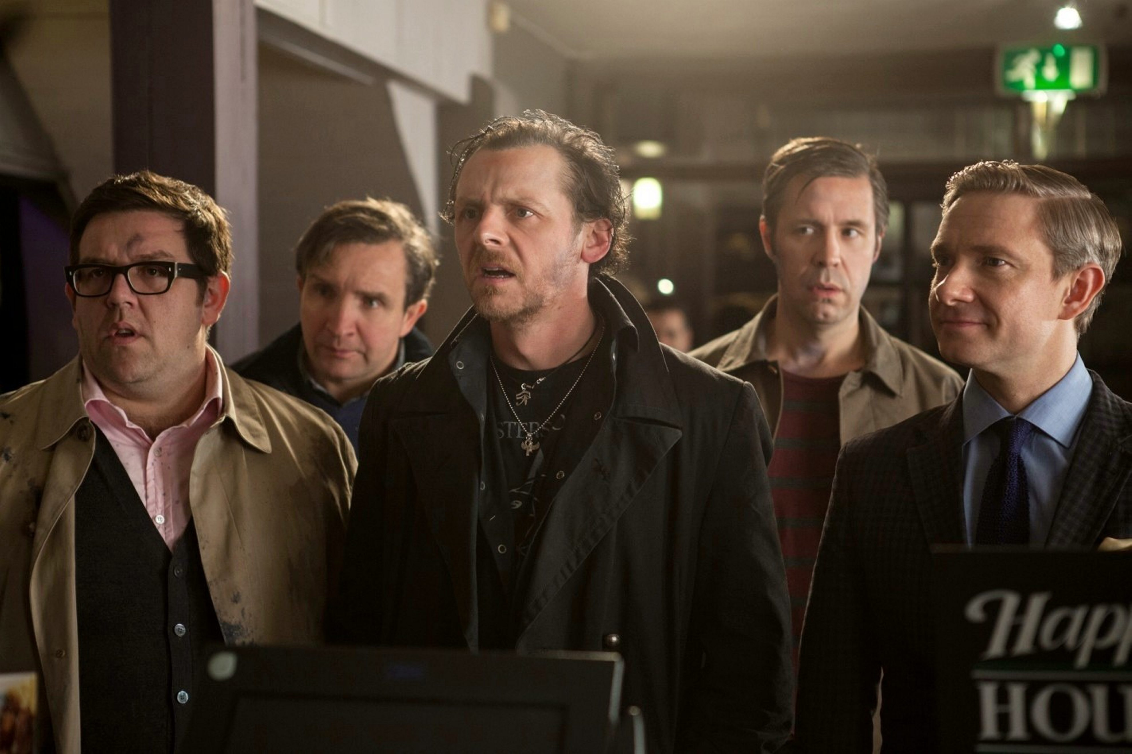 "Nick Frost, Eddie Marsan, Simon Pegg, Paddy Considine and Martin Freeman in ""The World's End."""