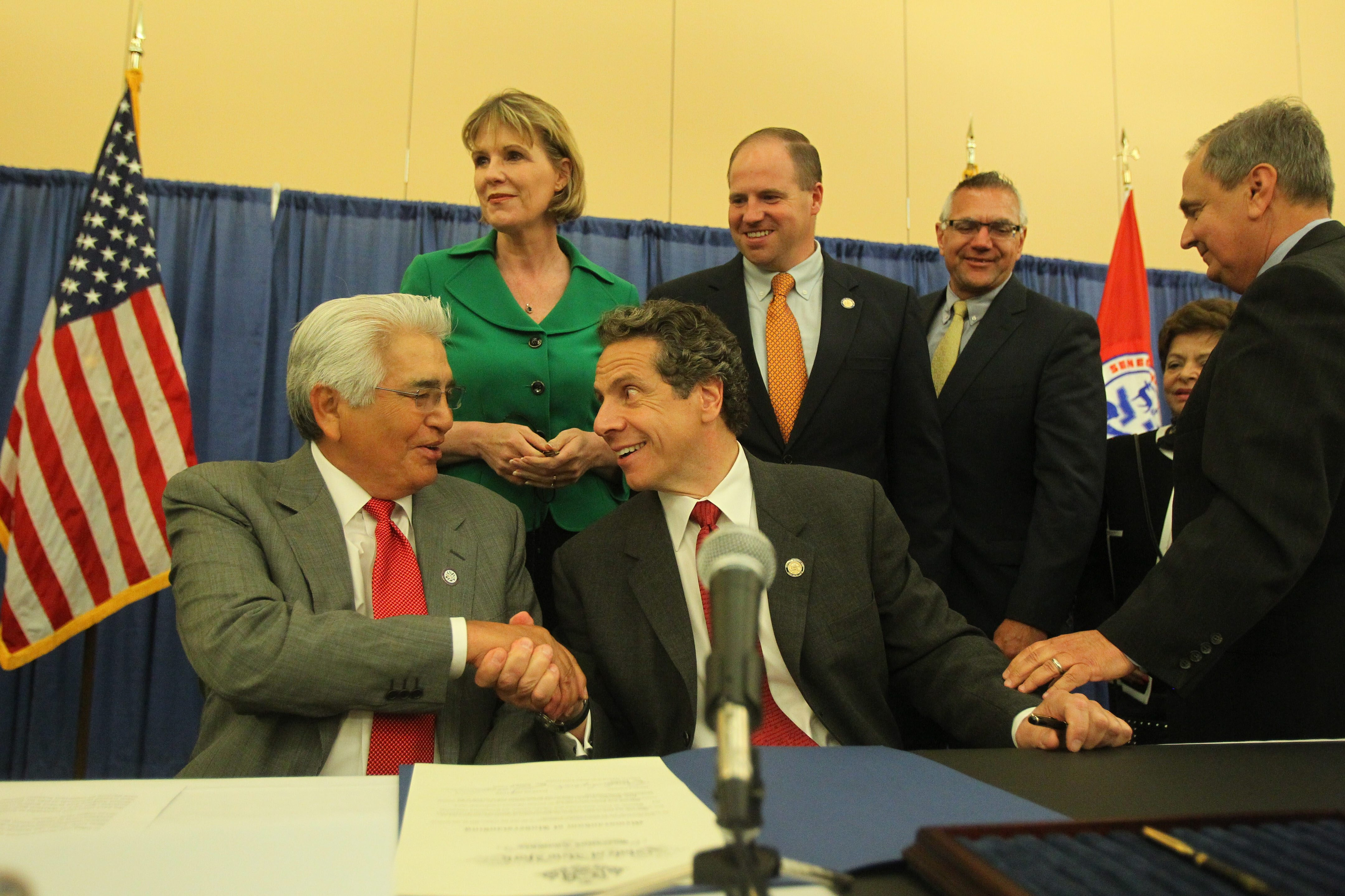 Seneca Nation President Barry Snyder Sr. and Gov. Andrew M. Cuomo sign an agreement after a long dispute about casino gambling in Niagara Falls in June. A casino in the Rochester area was not part of that agreement.