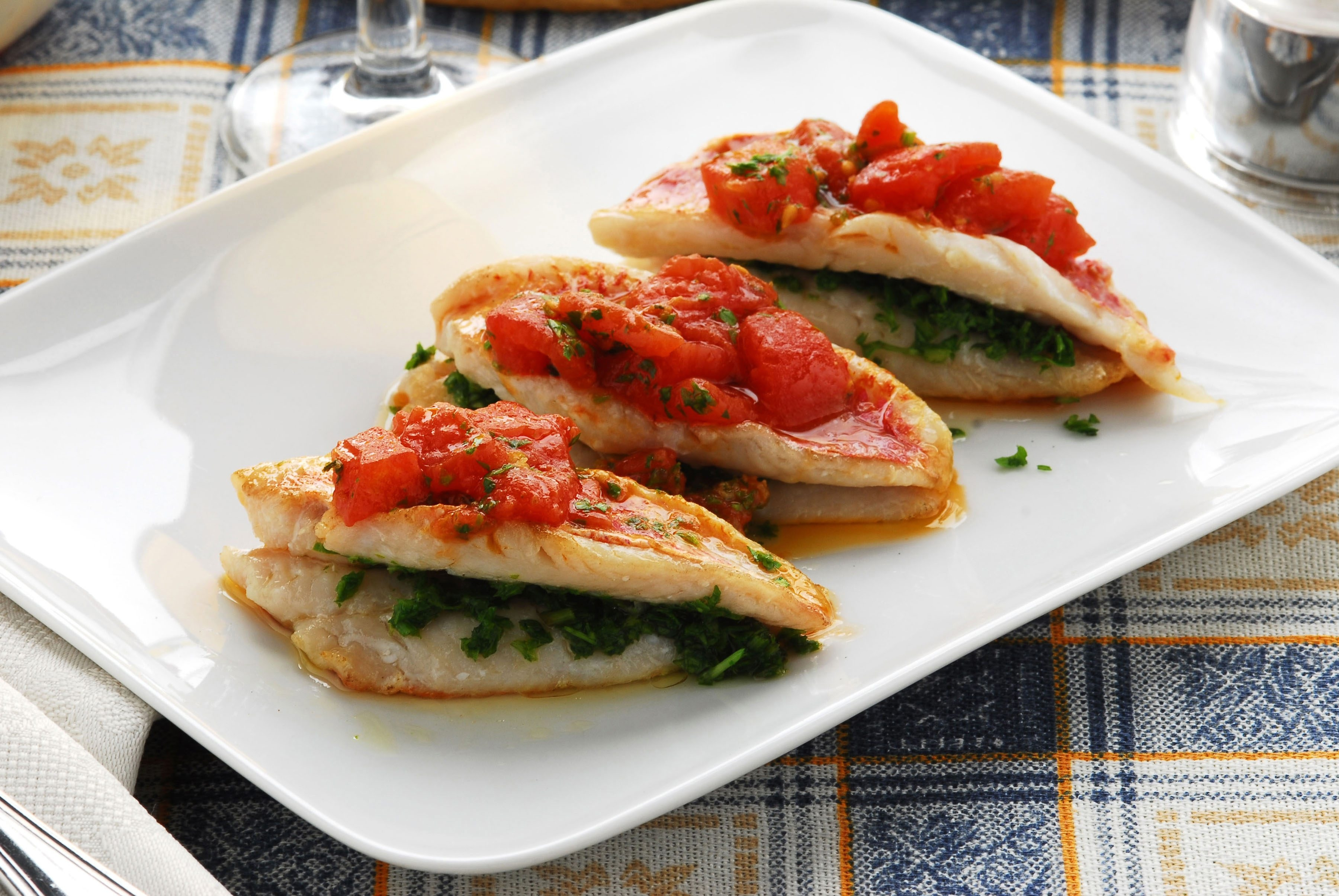 Instead of a sauce, top fish, meat or poultry with sauteed vegetables. It's a good way to increase portion size without adding too many calories.