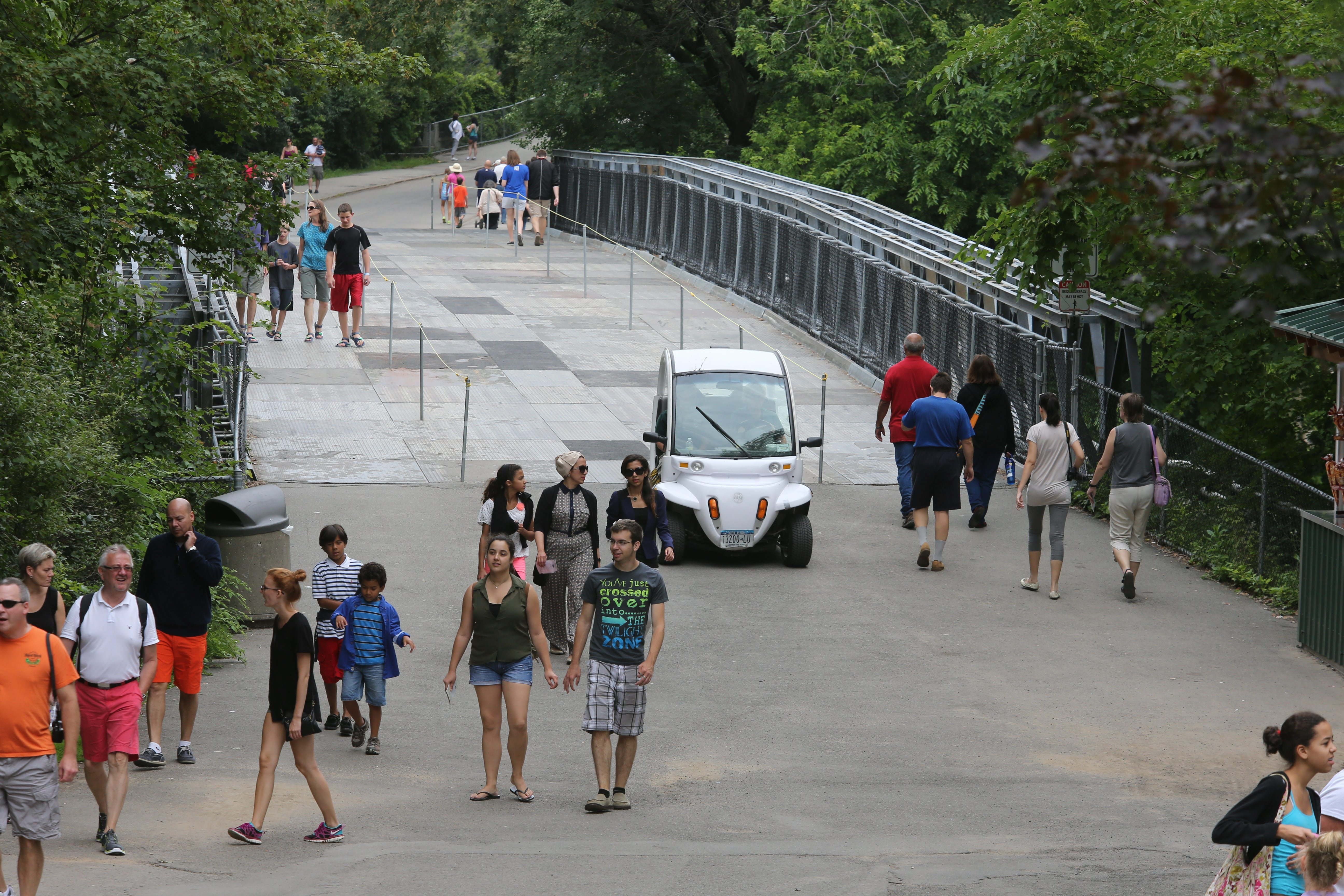 The bridge that runs from Goat Island to Green Island at Niagara Falls State Park offers pedestrians a limited view because of earlier structural work.