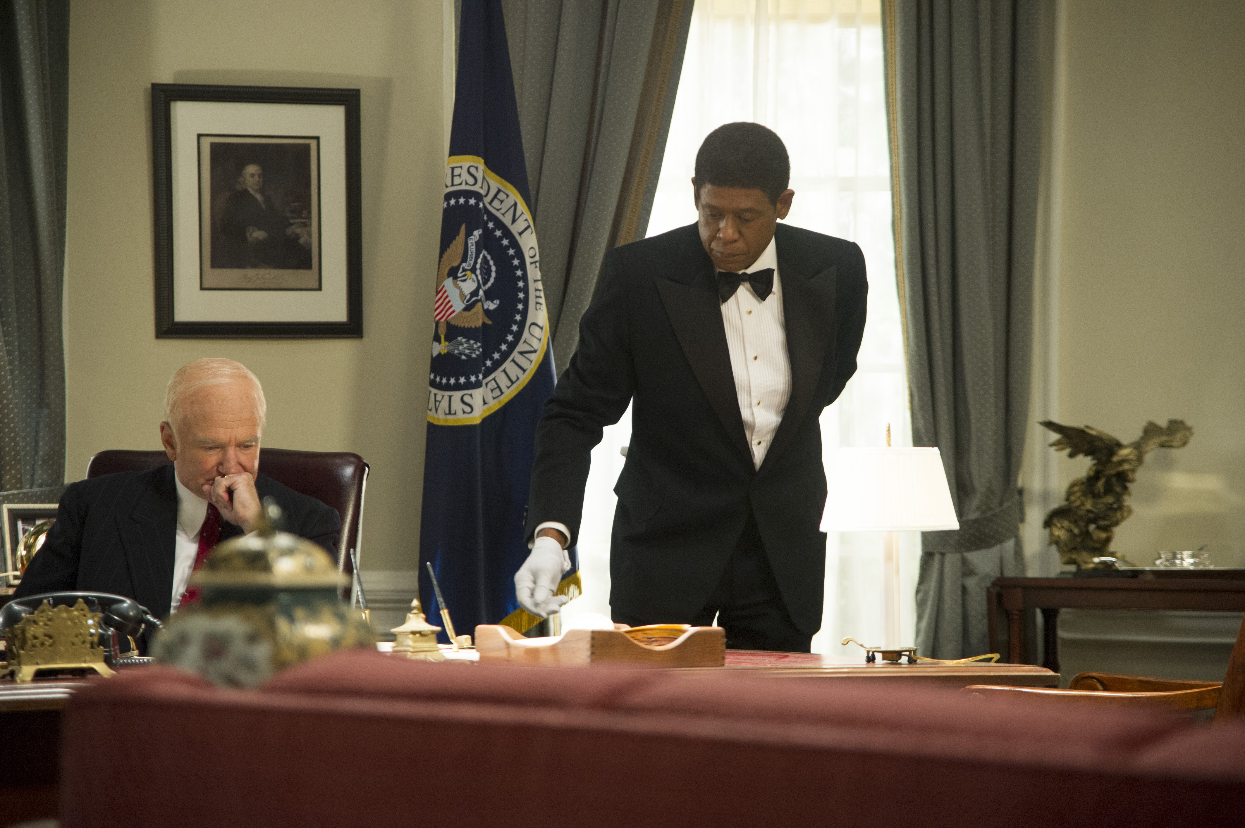 """Robin Williams is Dwight Eisenhower and Forest Whitaker is Cecil Gaines in """"Lee Daniels' The Butler."""""""