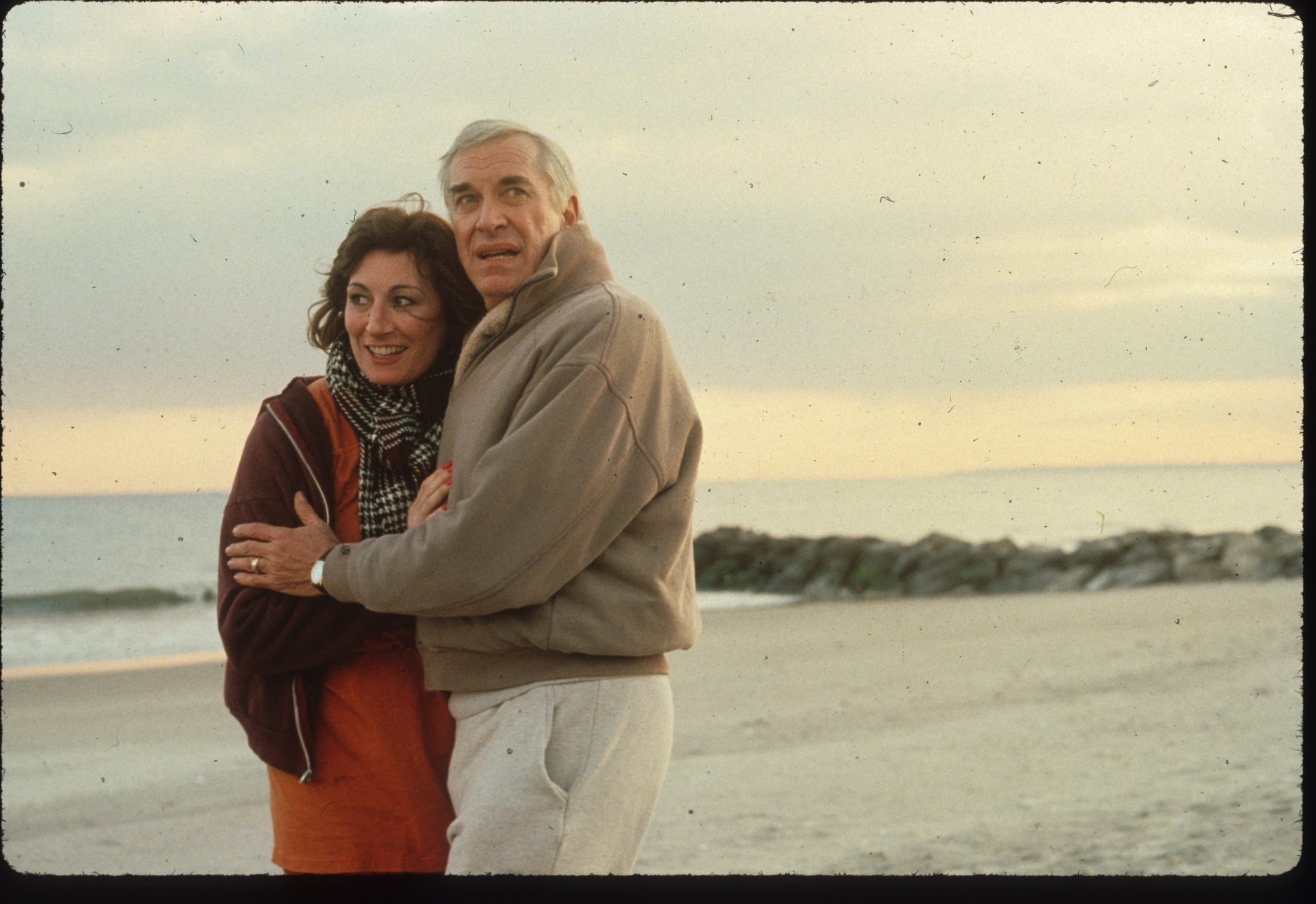 "Anjelica Huston and Martin Landau in ""Crimes and Misdemeanors."""