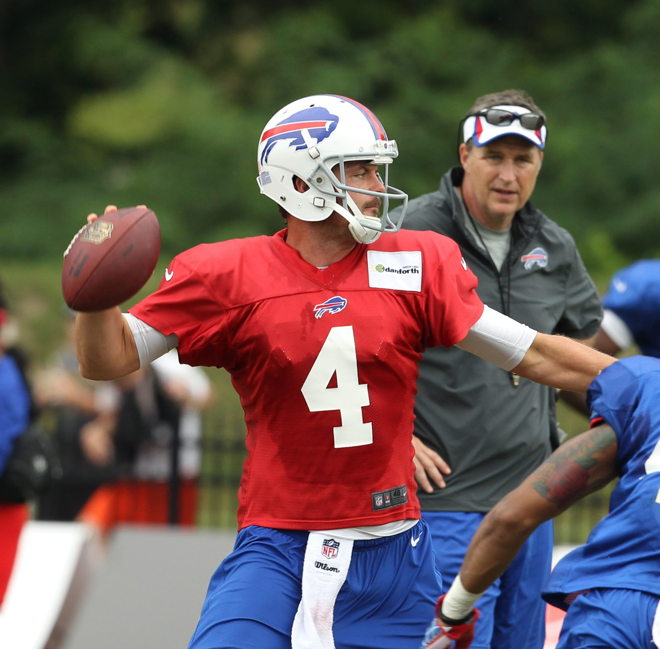 The Bills' Kevin Kolb participated in all the quarterback drills in practice but wasn't moving around at peak efficiency.