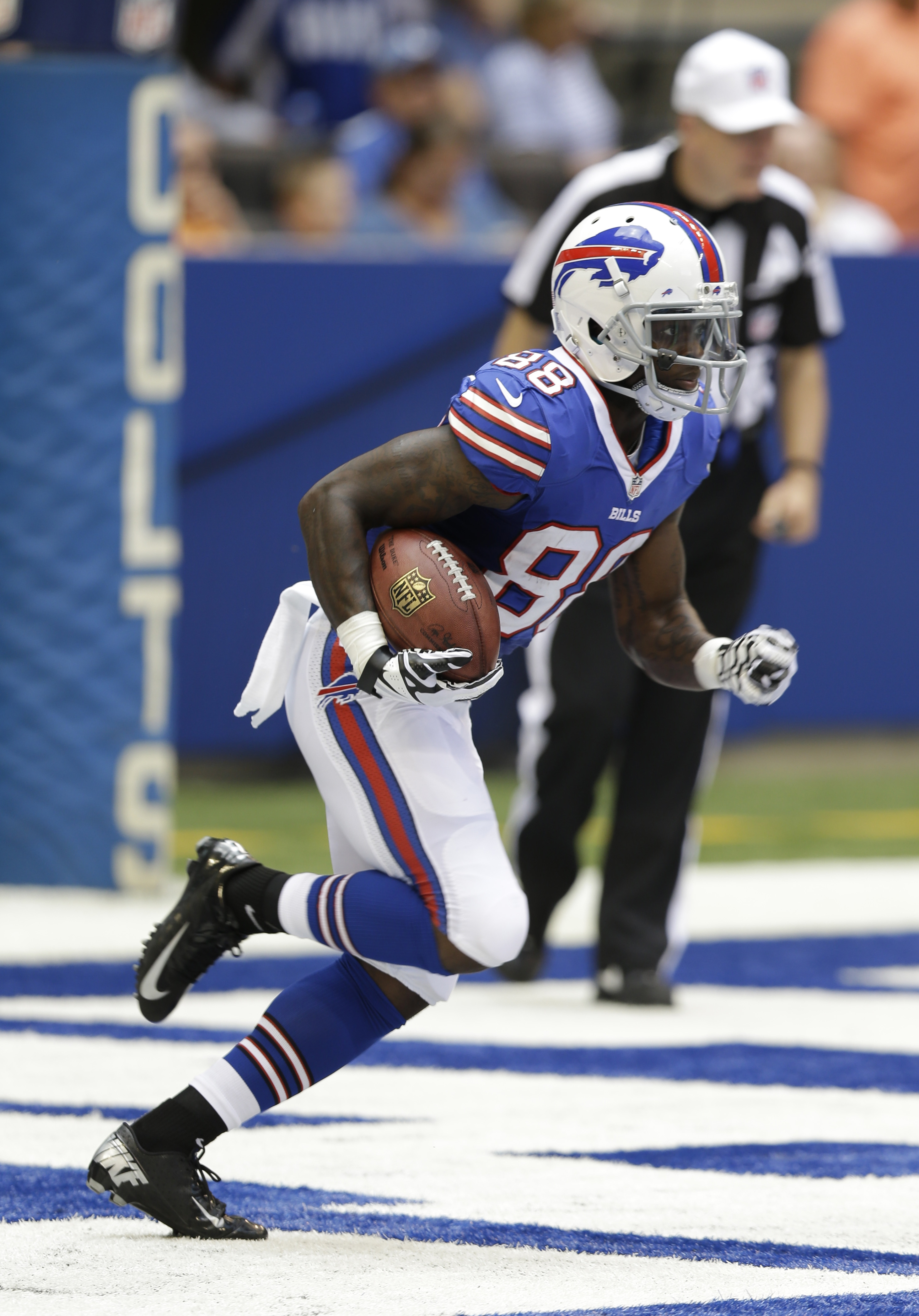 Bills rookie Marquise Goodwin heads out of the end zone on a kickoff return, reaching the other end zone 107 yards later.