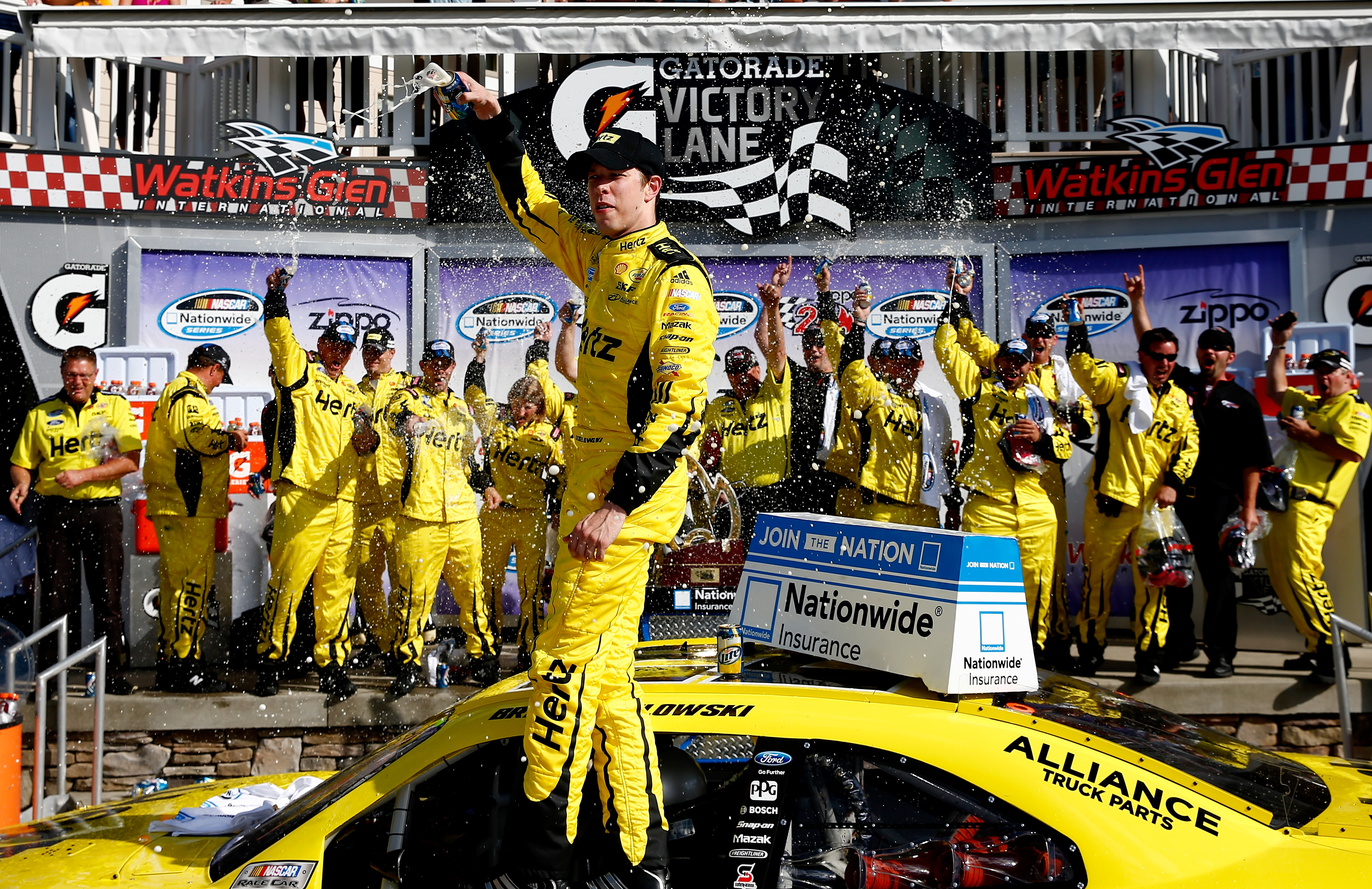 Brad Keselowski experiences that winning feeling in Victory Lane at Watkins Glen for the first time.