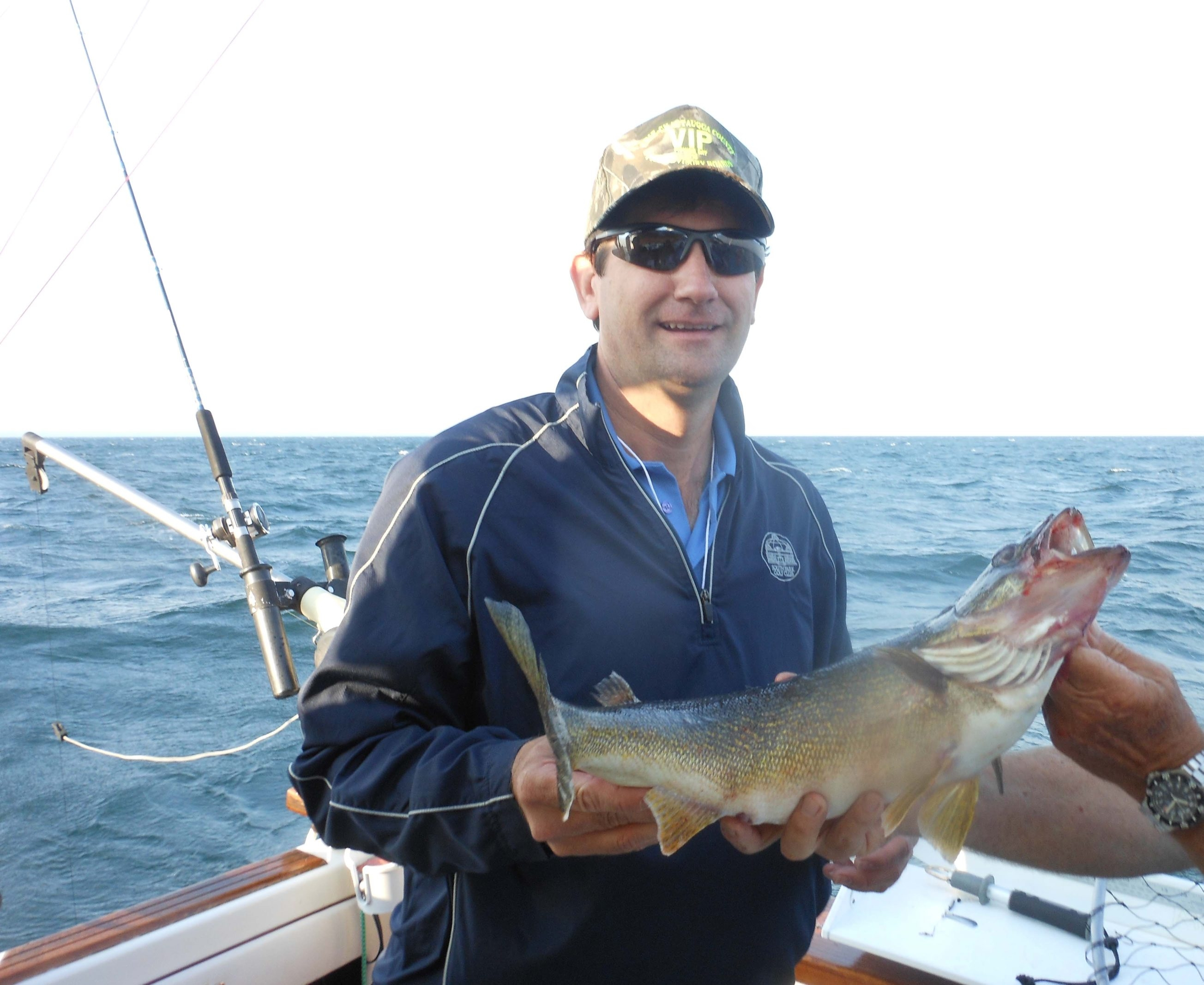 Erie County Executive Mark Poloncarz caught one nice walleye during a legislators VIP Fishing Day at Dunkirk Harbor on Wednesday.