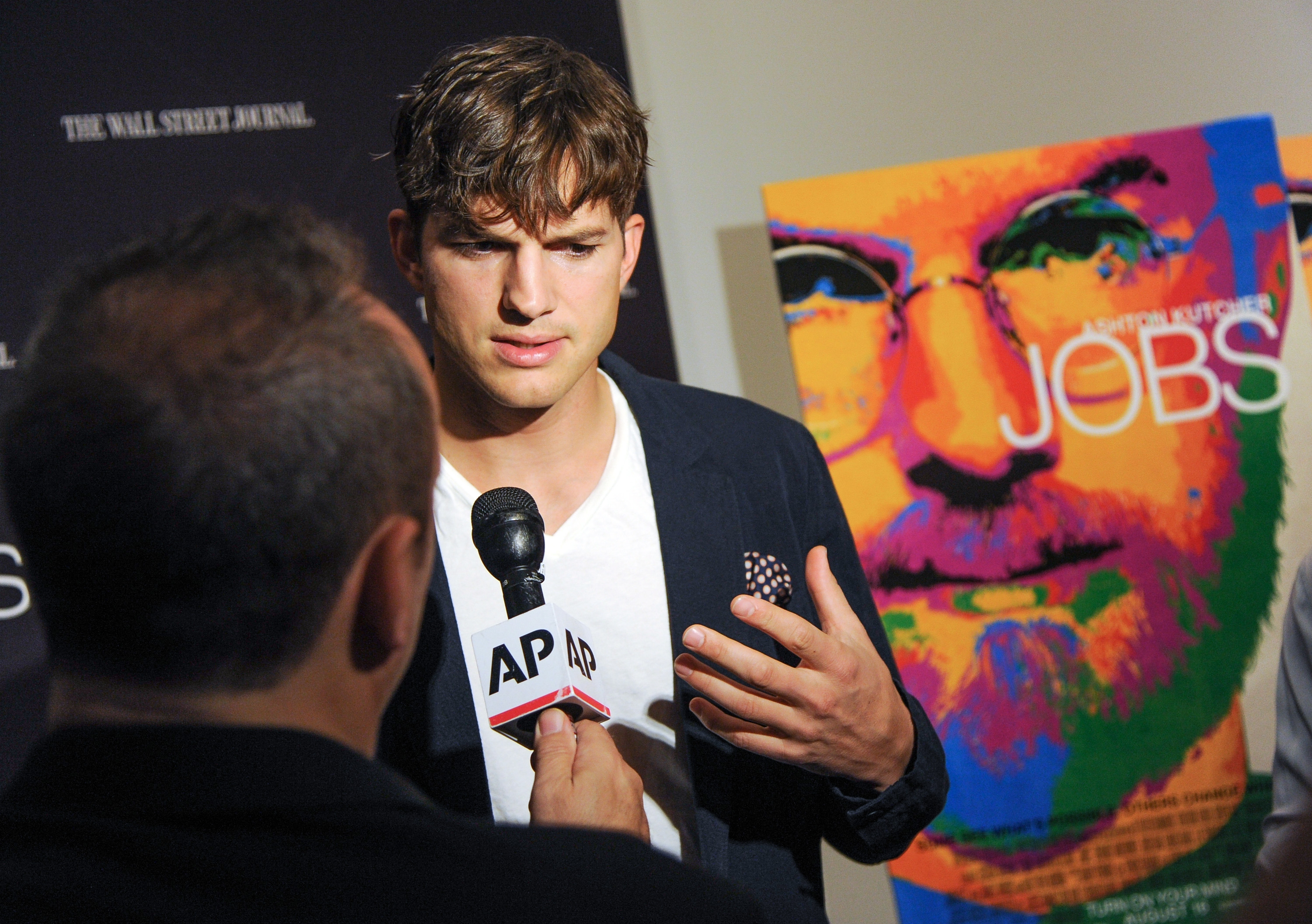 """Ashton Kutcher, shown here at the premiere of """"JOBS"""" in New York Wednesday, has gained an appreciation of Steve Jobs' ability to balance his personal and public life."""