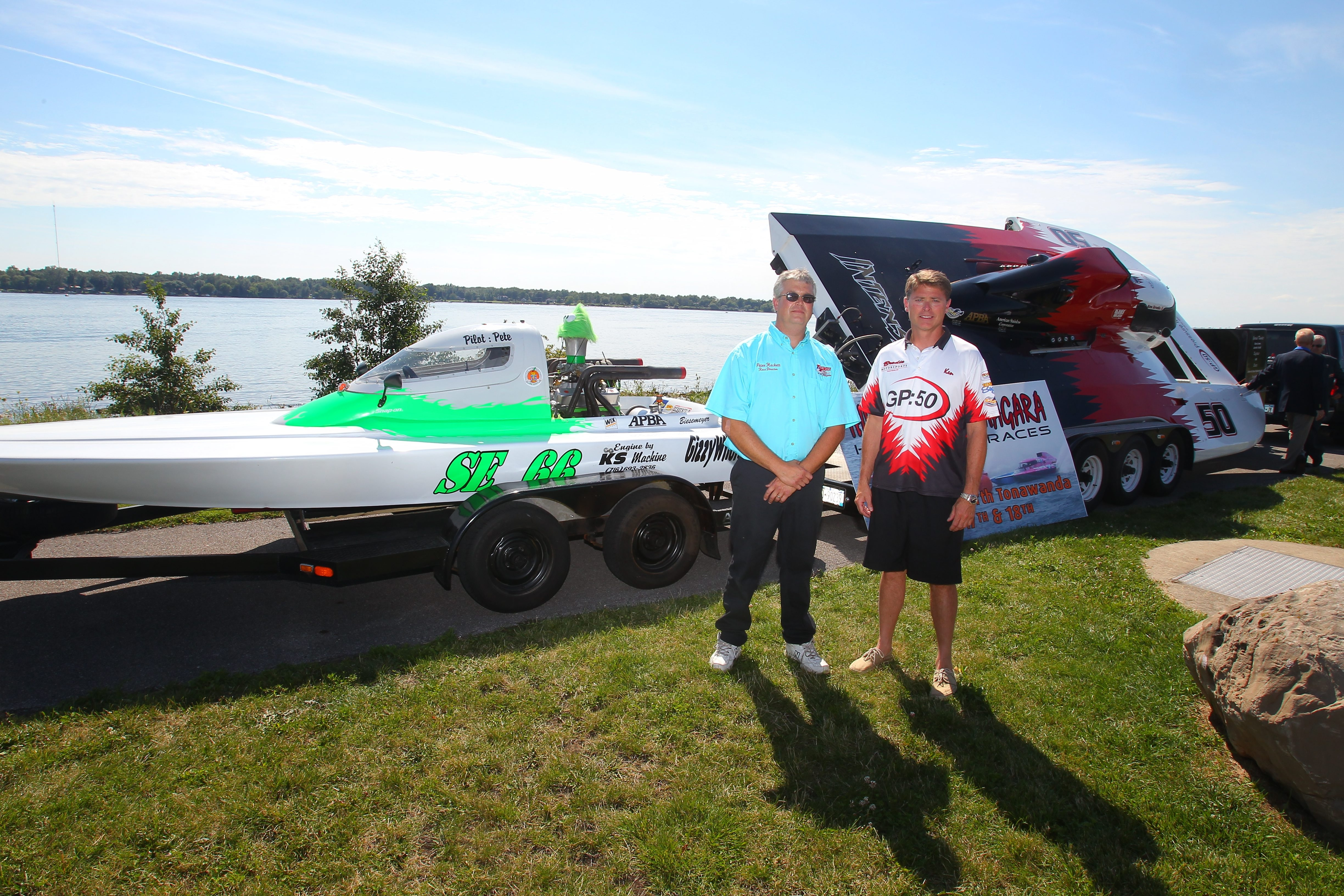 Peter Hackett, left, who races in the hydroplane Sportsman's Class, and Ken Brodie II, who races in the Grand Prix Class, attend a Thunder on the Niagara news conference at Gratwick-Riverside Park in North Tonawanda.