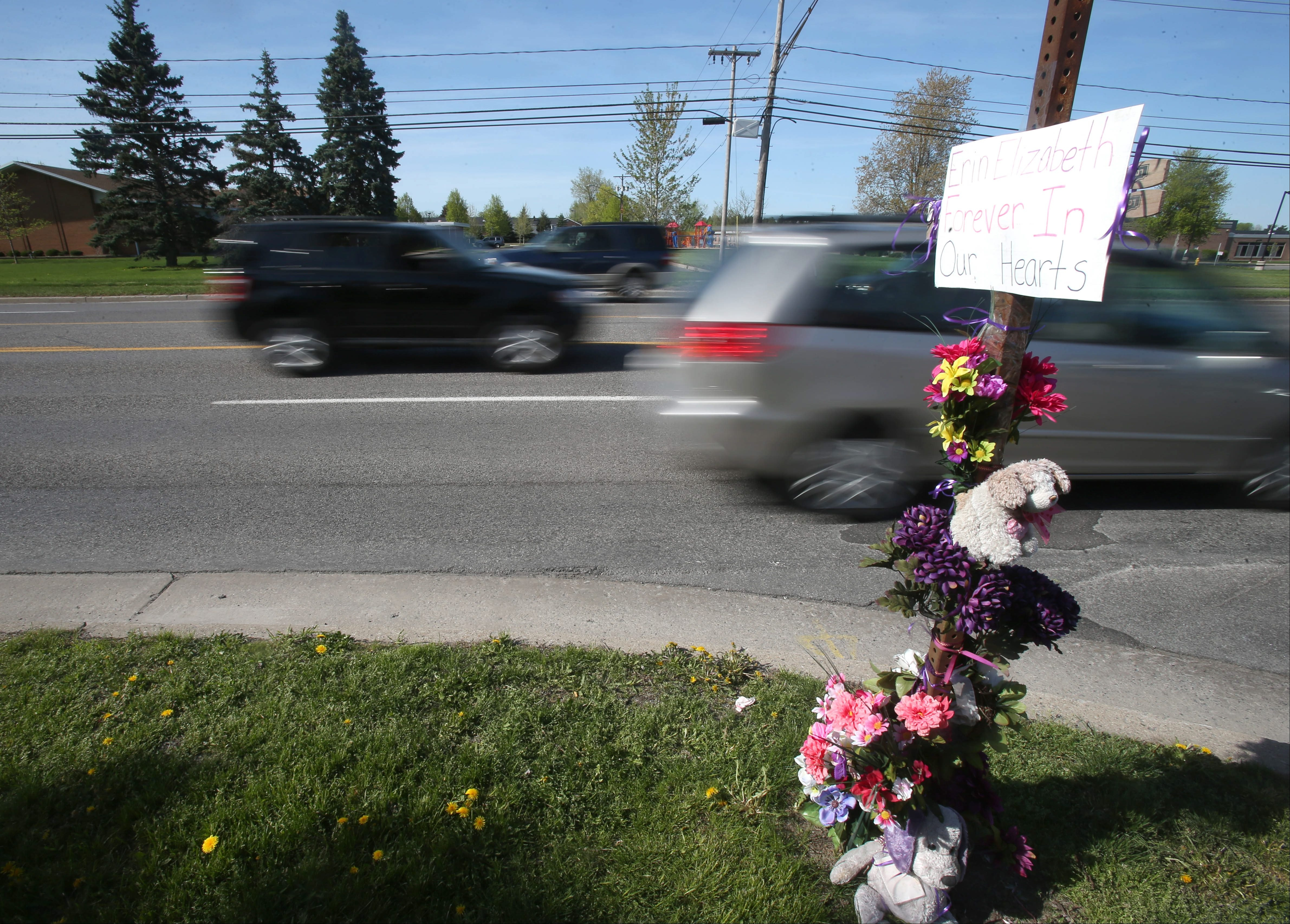 A crosswalk is being urged for this spot on Maple Road where Erin Suszynski was struck and killed in June 2012. A memorial to Erin on a street sign marks the spot in this photo taken in May. (Robert Kirkham/Buffalo News)