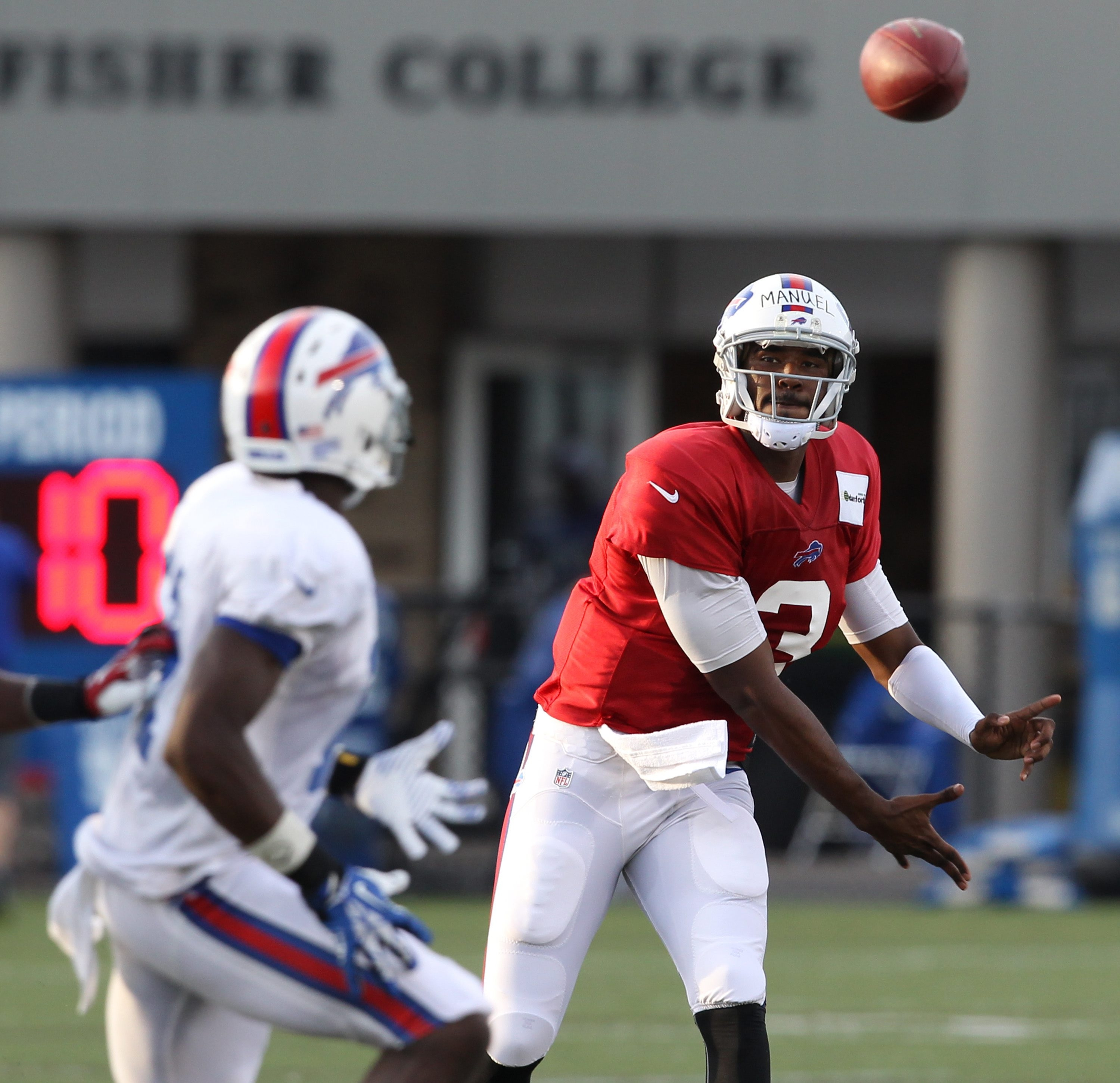Bills quarterback EJ Manuel took all the snaps with the first team in the scrimmage Monday night.
