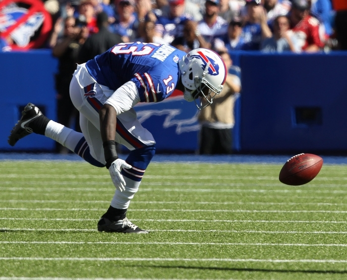 Stevie Johnson's drop was a critical play with the game on the line. (James P. McCoy/Buffalo News)