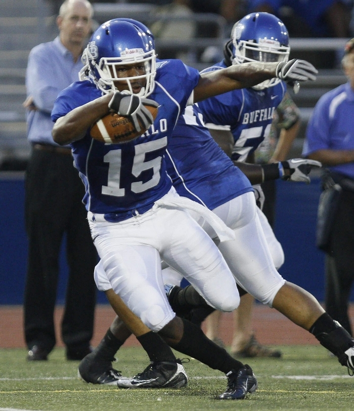 UB's Josh Thomas makes a cut after making in interception deep in UB territory on Sept. 2, 2010. Photo by Mark Mulville/Buffalo News