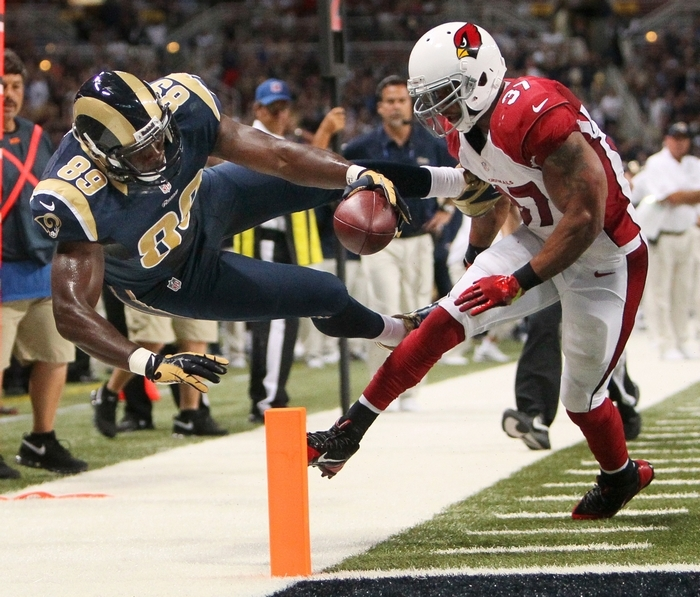 Rams tight end Jared Cook opened the season with his first career multi-touchdown game. (Associated Press)